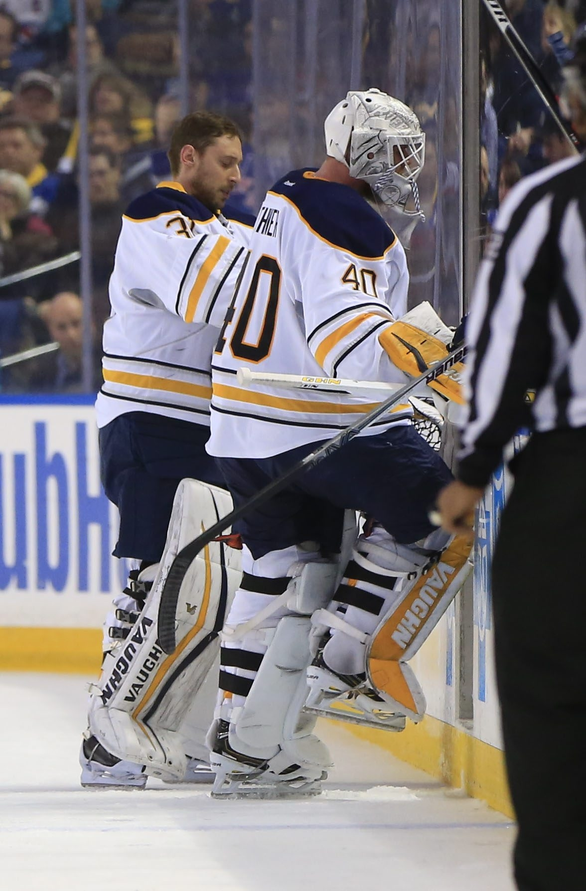 Sabres goaltender Robin Lehner is pulled for Chad Johnson in the second period of Tuesday's game with the Rangers.