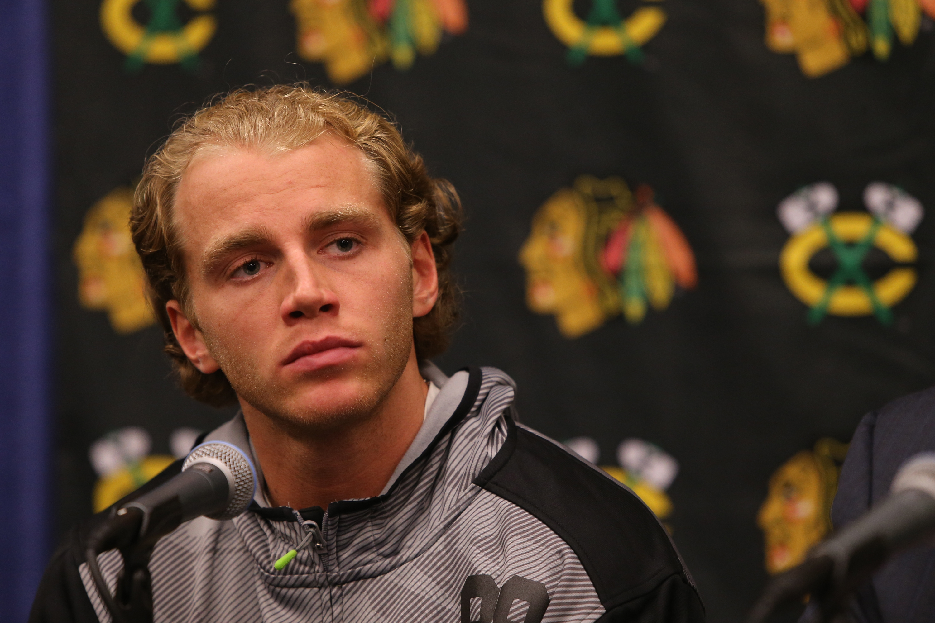 Patrick Kane is seen at a news conference before the start of the Chicago Blackhawks training camp on Sept. 17. (Chicago Tribune/TNS)
