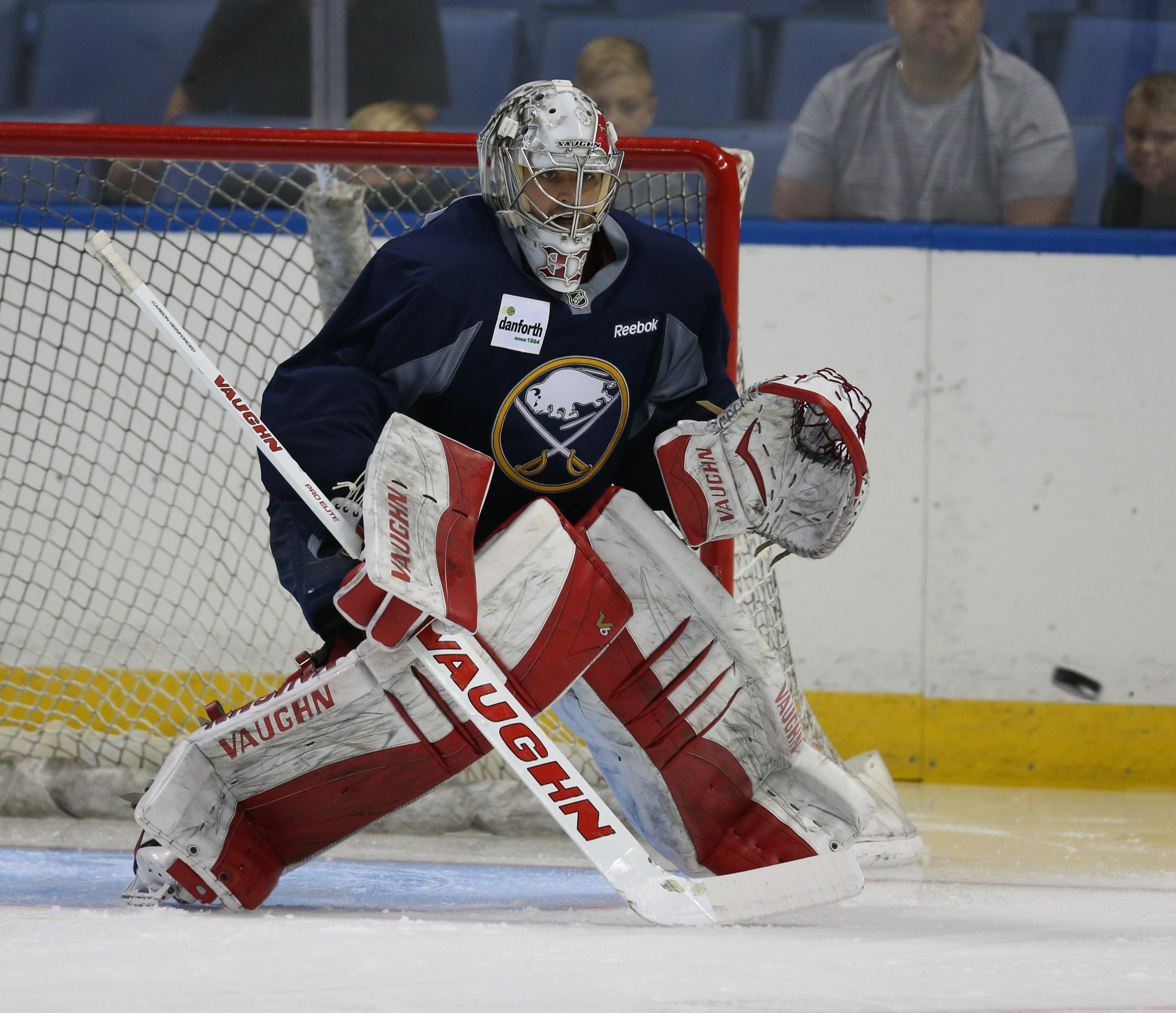 Sabres goalie Jason Kasdorf blocks a shot during the Sabres' Development Camp in July.