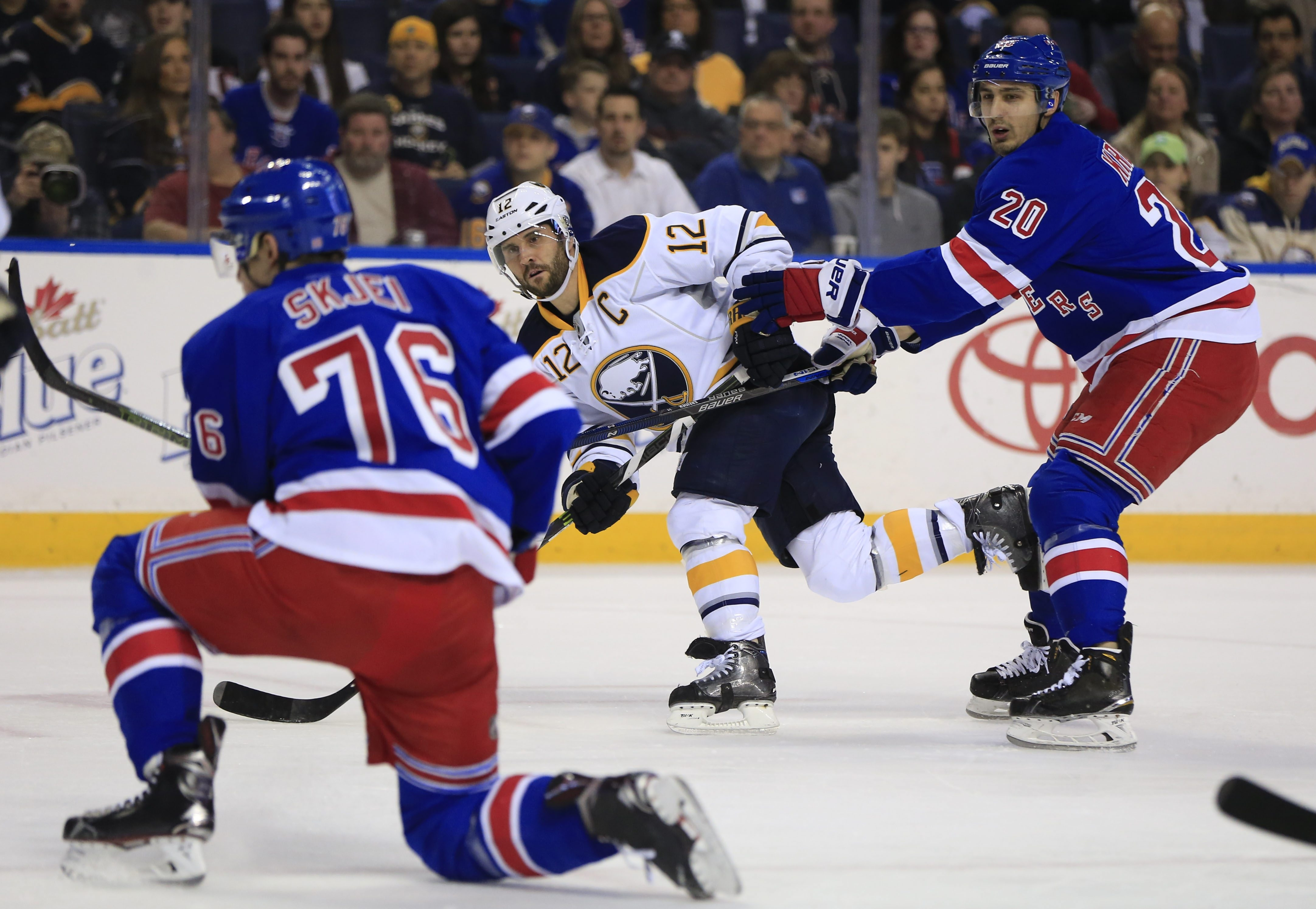 Buffalo Sabres captain Brian Gionta shoots on the New York Rangers' net during first-period action at First Niagara Center on March 8, 2016.