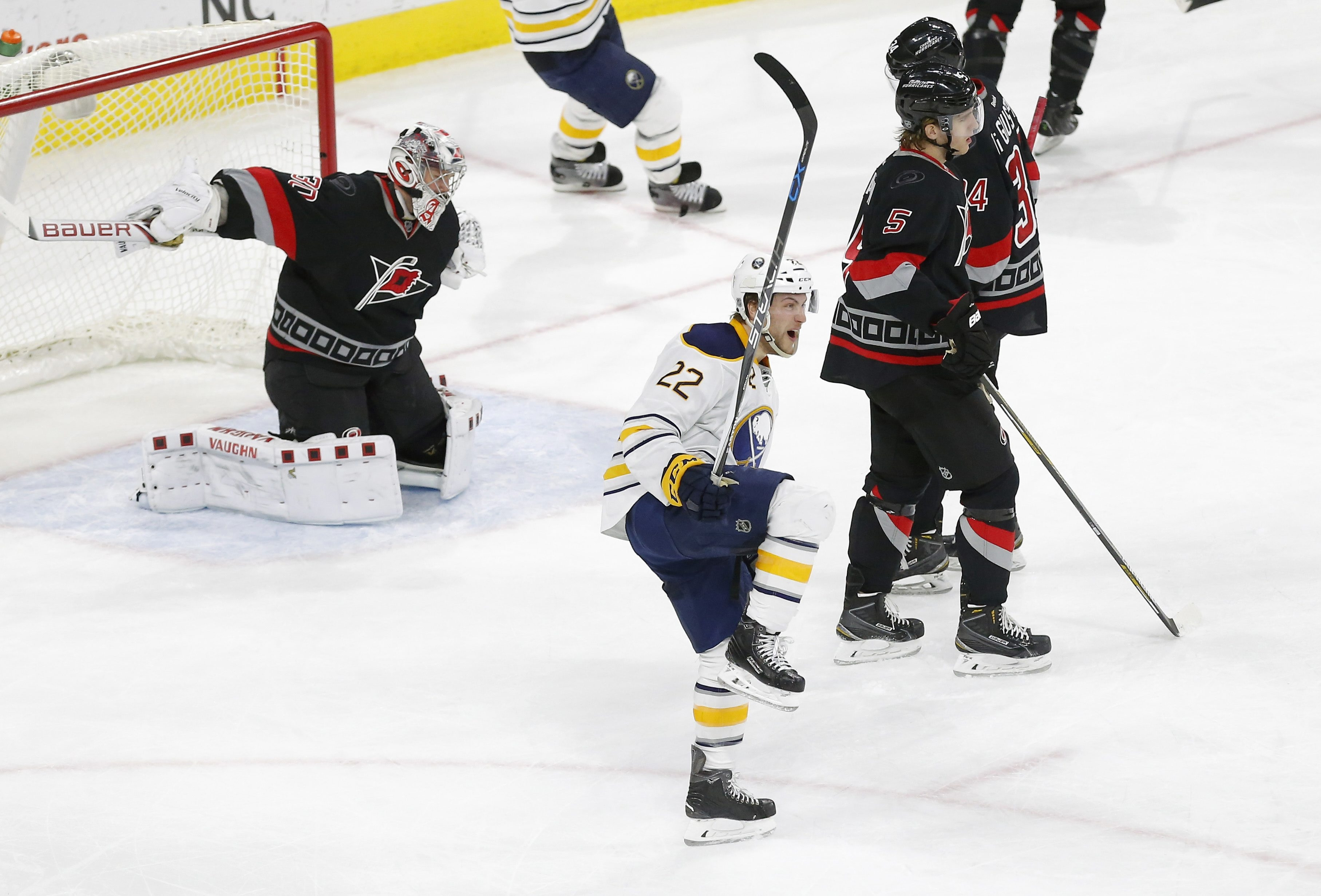 sabres score two late goals to rally past hurricanes the the buffalo sabres johan larsson 22 celebrates after he scored the winning goal during the third period chris seward news observer