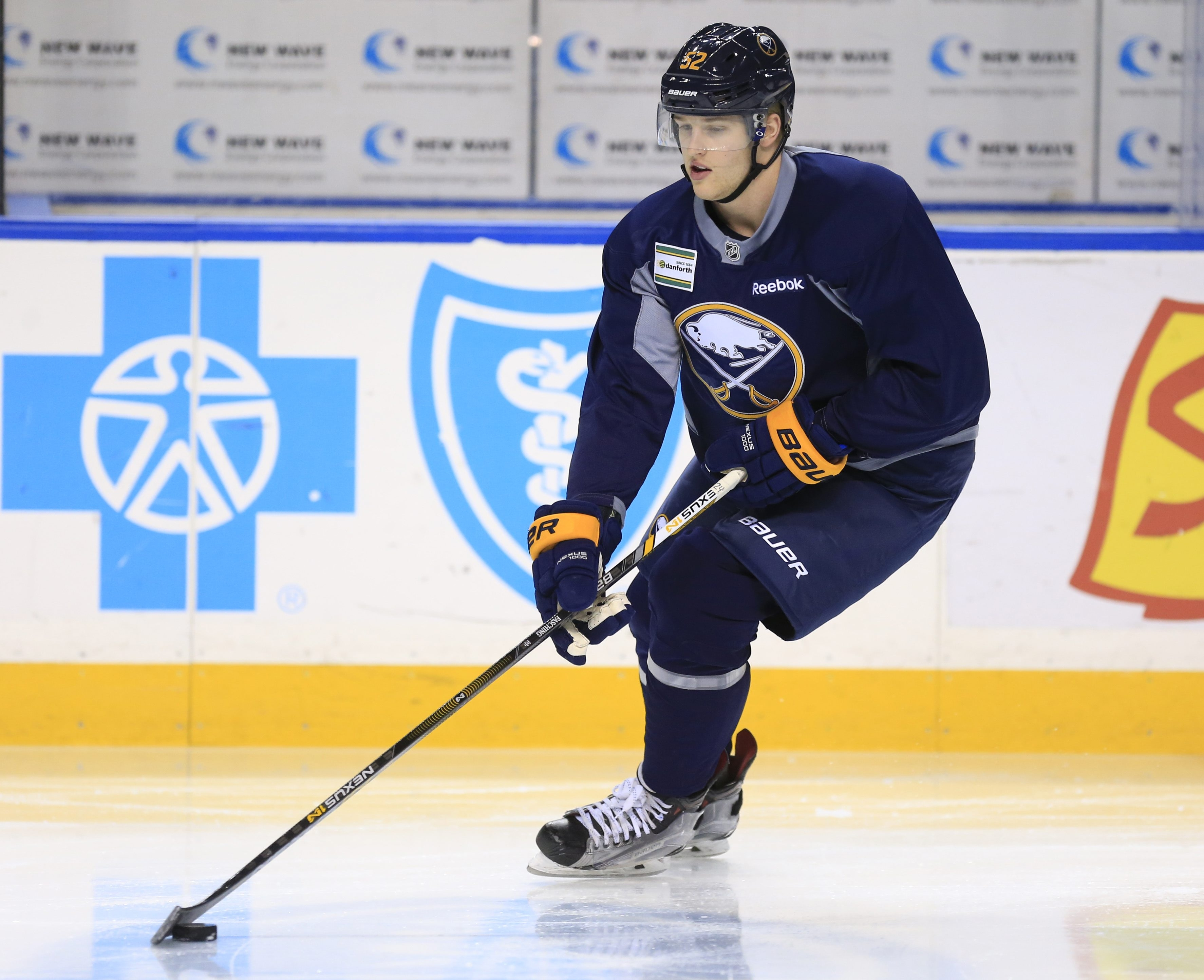 Hudson Fasching, who signed a three-year contract with the Sabres on Monday, practices in First Niagara Center on Thursday.