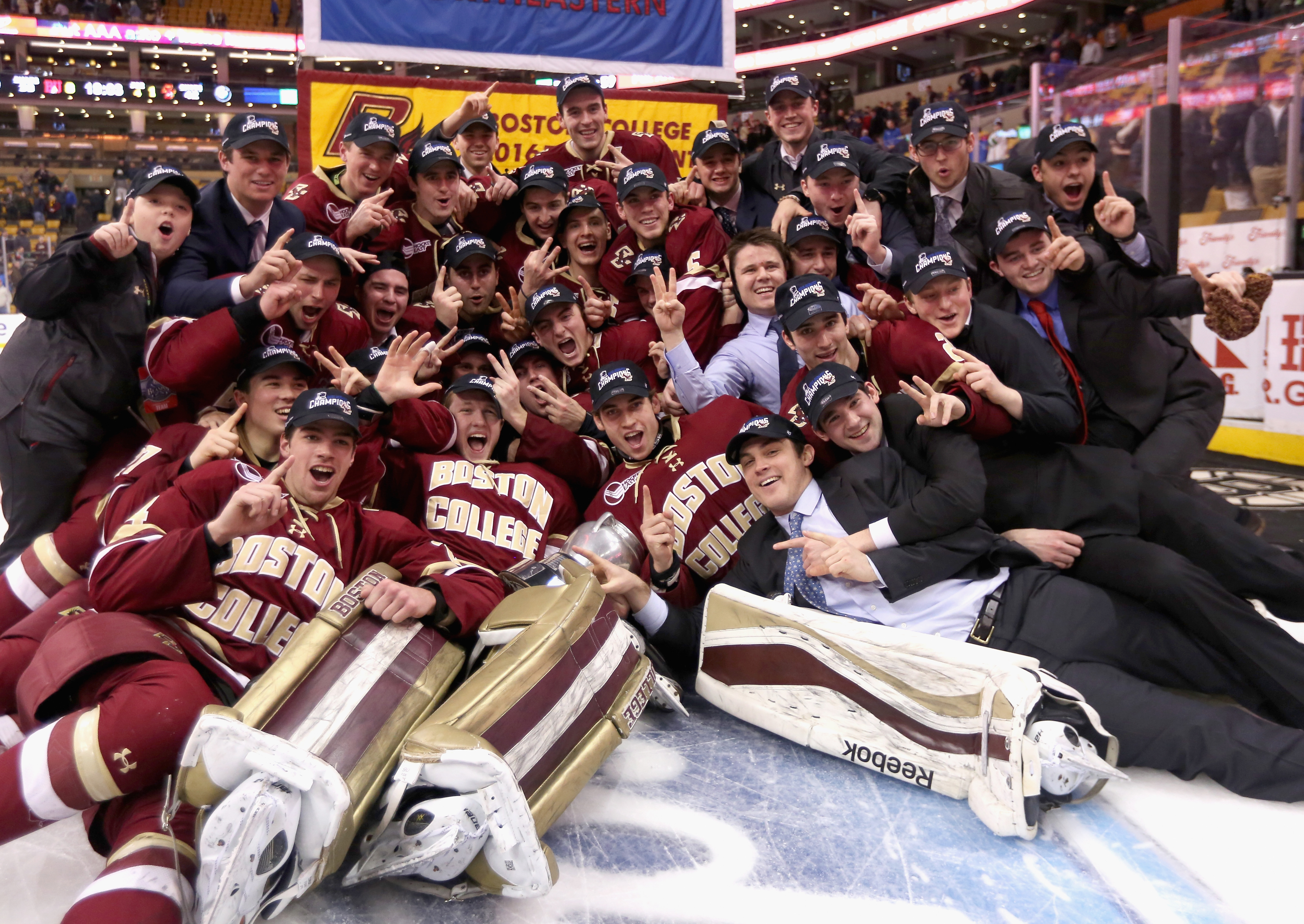 Chris Brown and Boston College are headed to the Frozen Four; the team is pictured after its the Beanpot Tournament championship last month. (Getty Images)