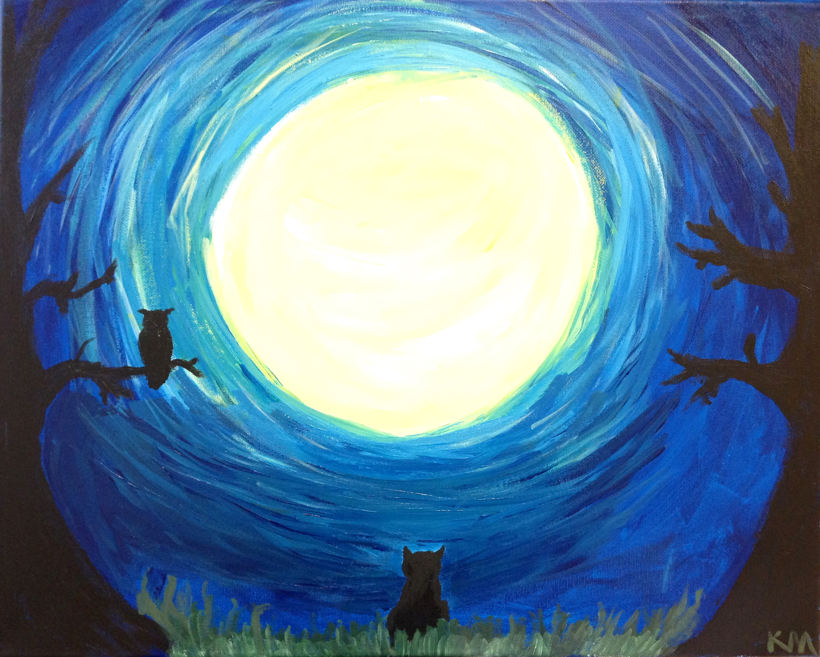 Kristin Maggio's painting, 'Owl and Cat and the Haunted Moon,' is part of an exhibition in the Atrium 124 Gallery.