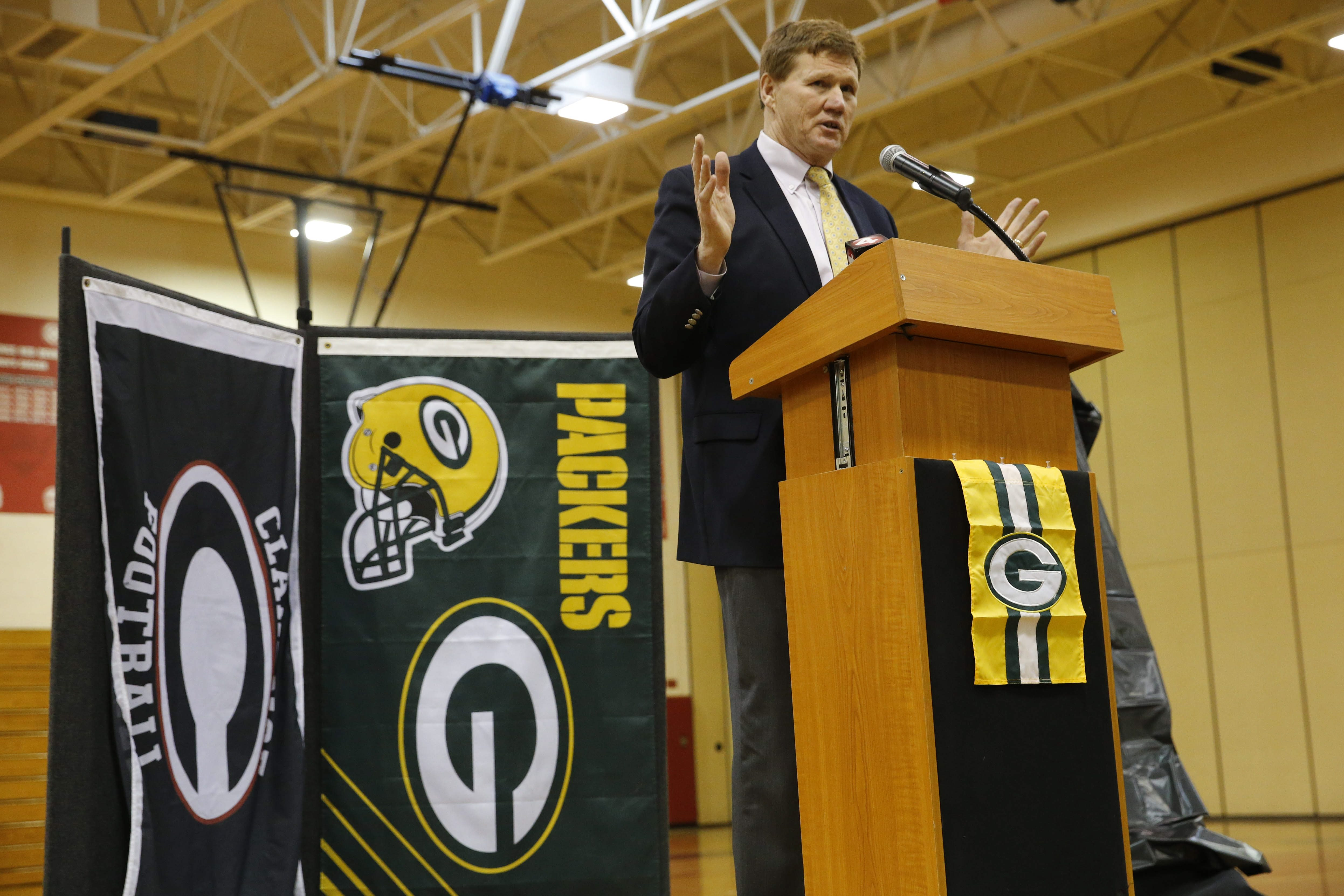 Green Bay Packers President and CEO Mark Murphy, a 1973 Clarence High School graduate, addresses student athletes and community members in the Clarence High School gymnasium, Monday, Feb. 29, 2016.  (Derek Gee/Buffalo News)