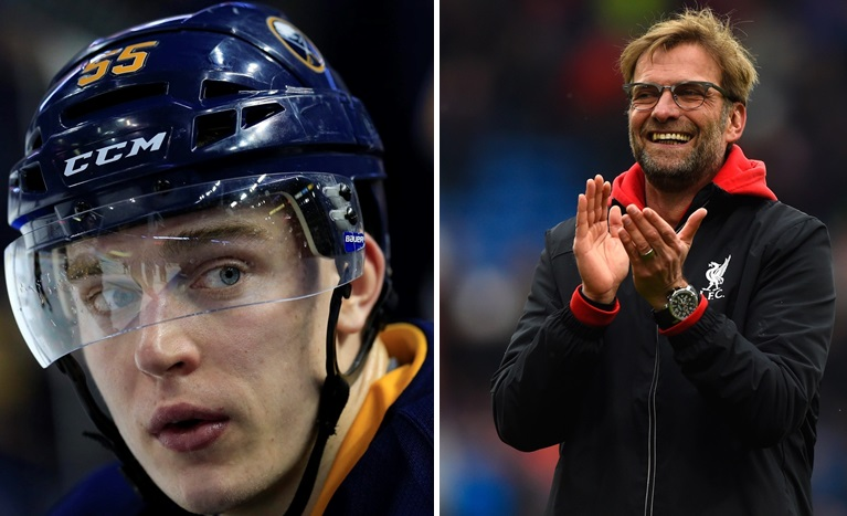 Sabres defenseman Rasmus Ristolainen, left, is more than a passive supporter of Liverpool FC and manager Jurgen Klopp, right. (Buffalo News file photo; Getty Images)