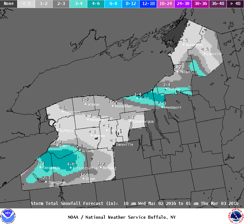 Up to six inches of lake-effect snow is forecast to fall through 1 a.m. Thursday in many parts south of the Buffalo area. (NWS)