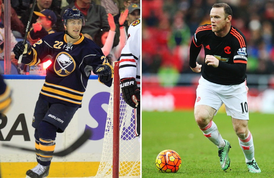 The Sabres' Johan Larsson, left, is a fan of Manchester United and striker Wayne Rooney. (Buffalo News file photo/Getty Images)