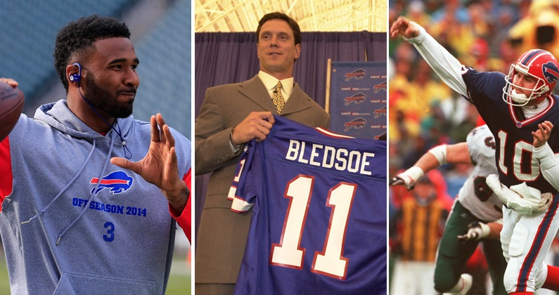 Reasons past Bills quarterbacks like EJ Manuel, Drew Bledsoe and Alex Van Pelt, left to right, would not make good 'Dancing With the Stars' contestants. (Buffalo News file photos)