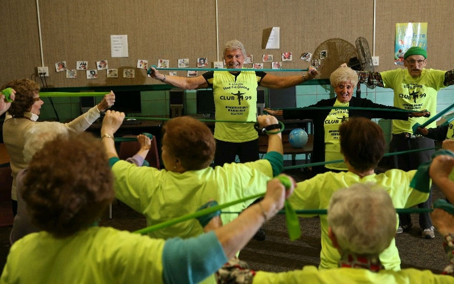 Live in the present, advises Erie County Senior Services fitness director Richard Derwald. (Photos by Sharon Cantillon/Buffalo News)