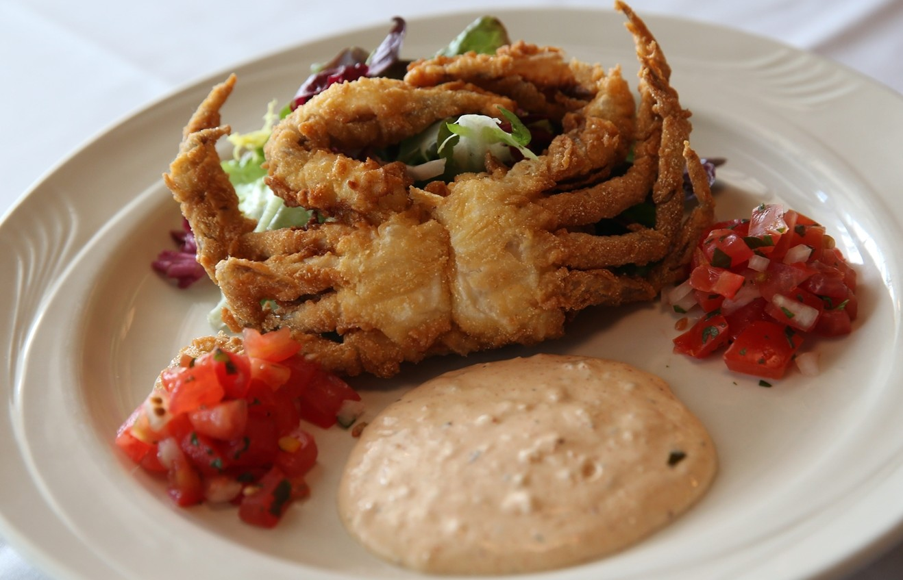 Crispy soft-shelled crab with a Cajun remoulade, market salad and pico de gallo from Hutch's.