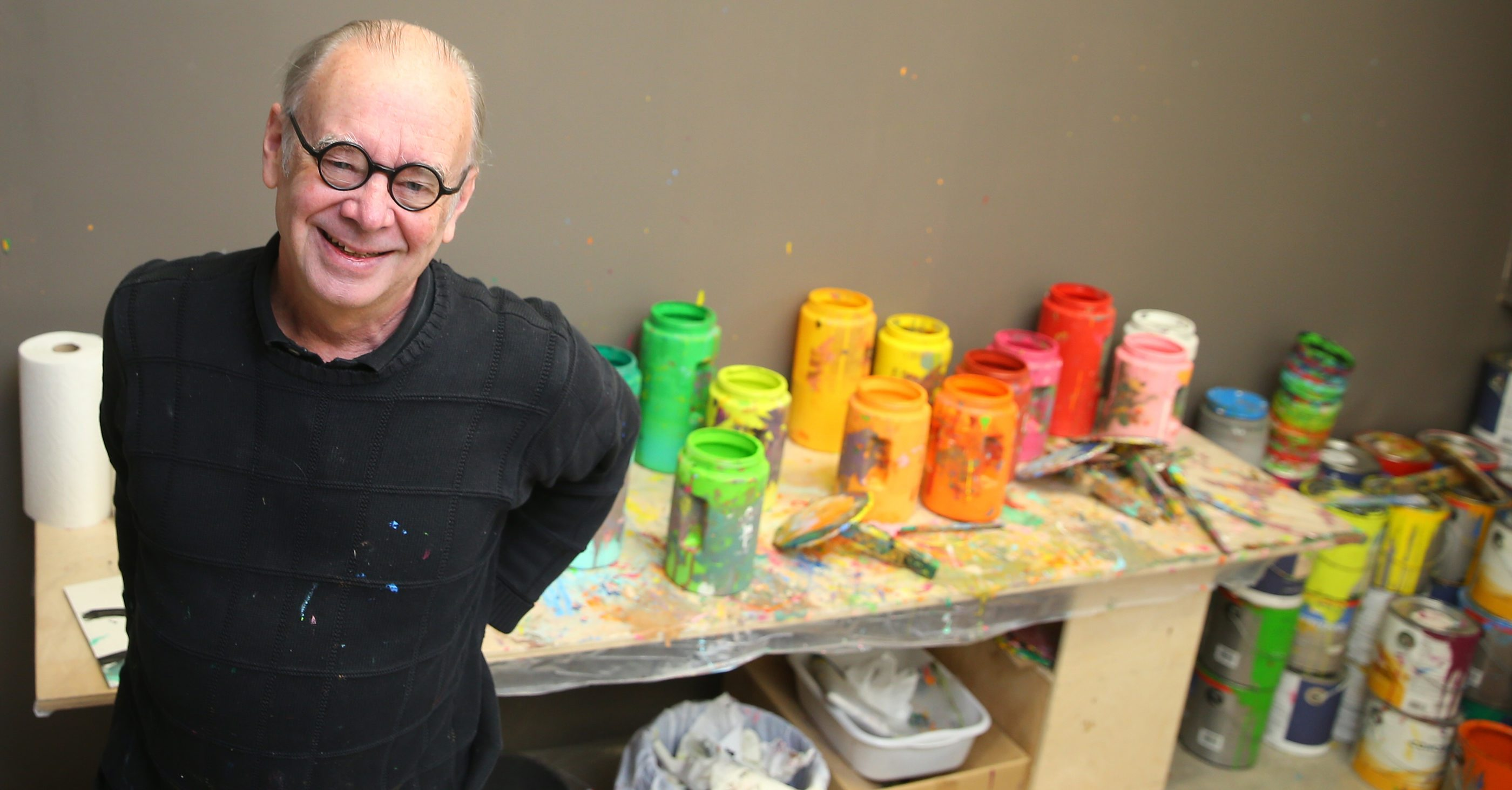Painter Charles Clough talks about his collaborative paintings, at in his studio in the Print Shop on the Roycroft Campus in East Aurora , N.Y., on Sunday,  March 20, 2016.  (John Hickey/Buffalo News)