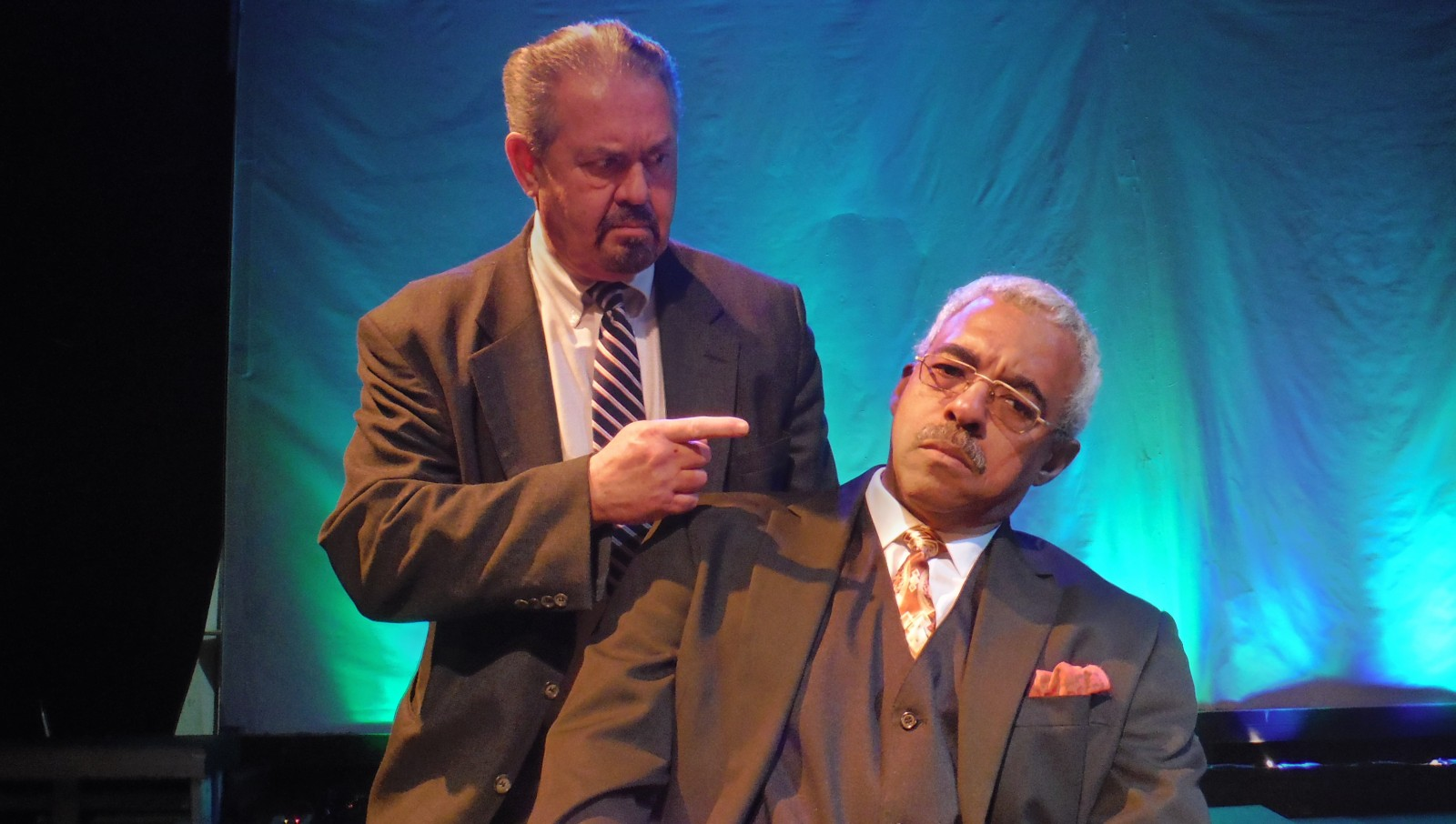 """Brendan Cunningham, left, as Prosecutor Landis, and Gary Earl Ross as Ossian Cain are both marvelous in """"The Mark of Cain."""""""