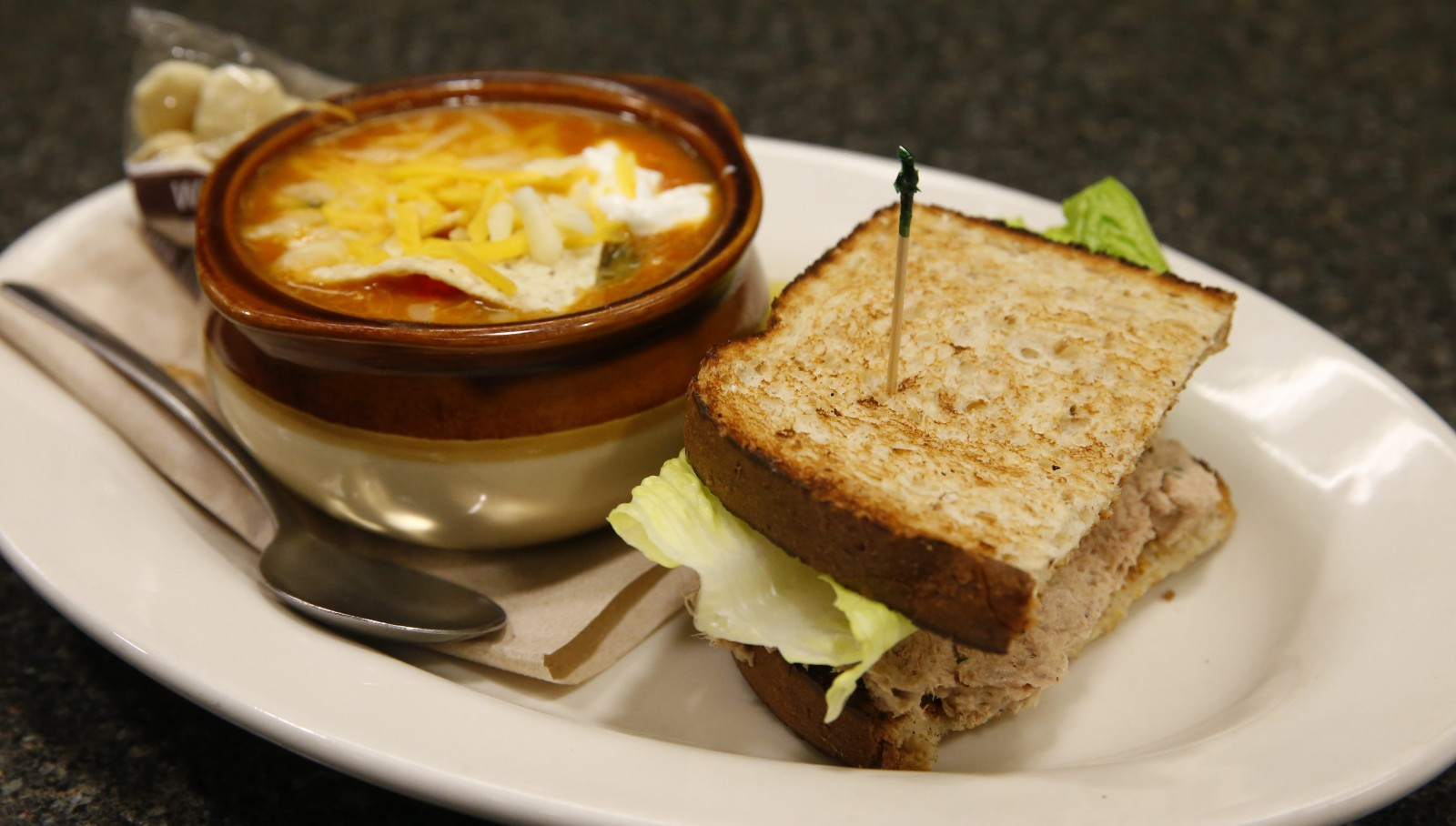 Tuna sandwich and chicken tortilla soup at The Lunch Box in the Tri-Main building. (Mark Mulville/Buffalo News)
