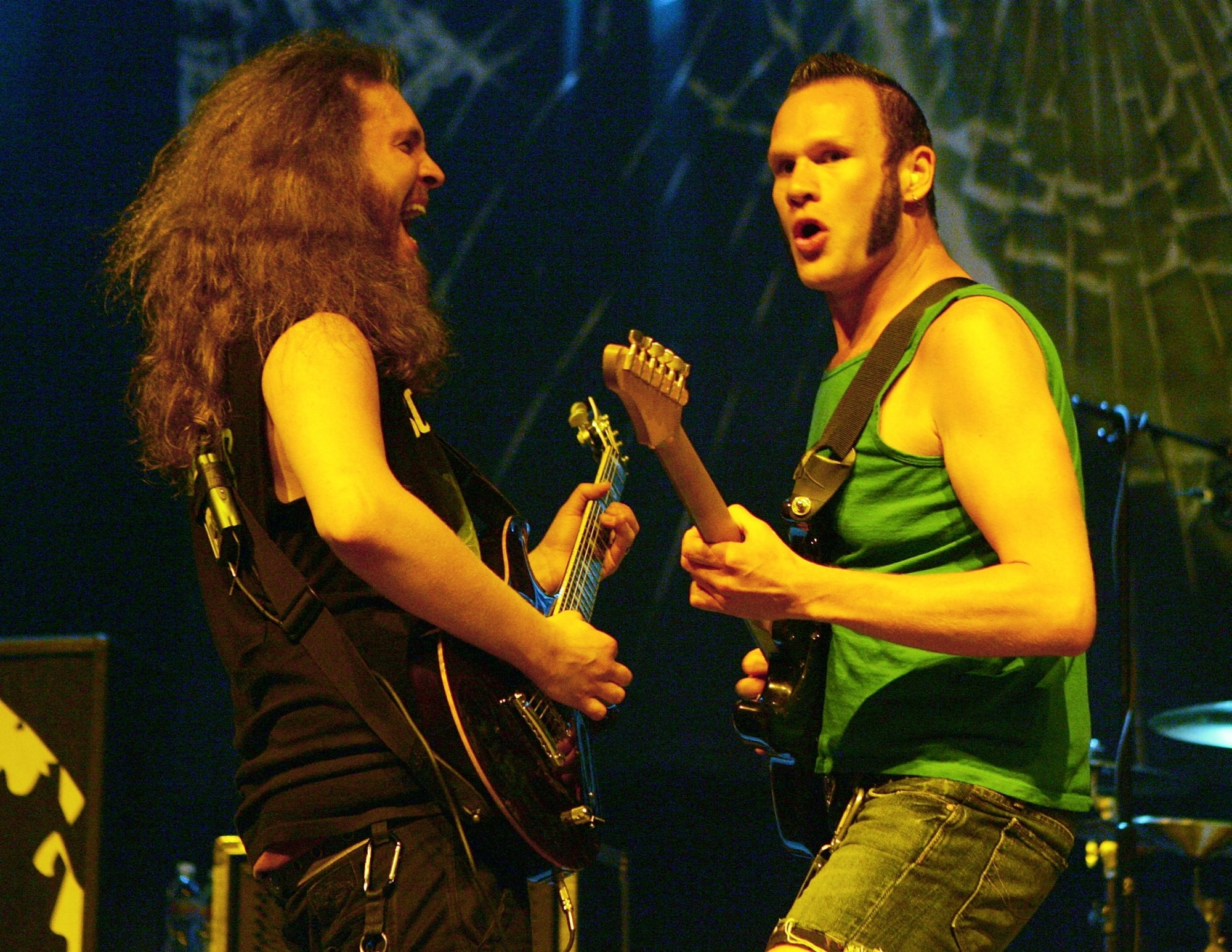 Killswitch Engage – with guitarists Joel Stroetzel, left, and Adam Dutkiewicz – will play Town Ballroom on April 17. (Getty Images)