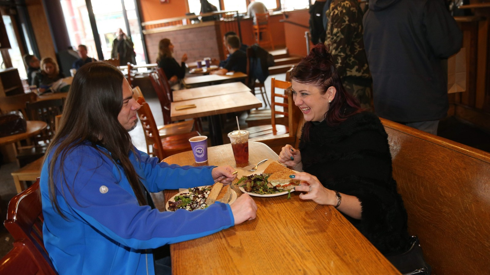 Chris Zachary and Monique Fortunato have lunch at Spot's Elmwood Avenue location.
