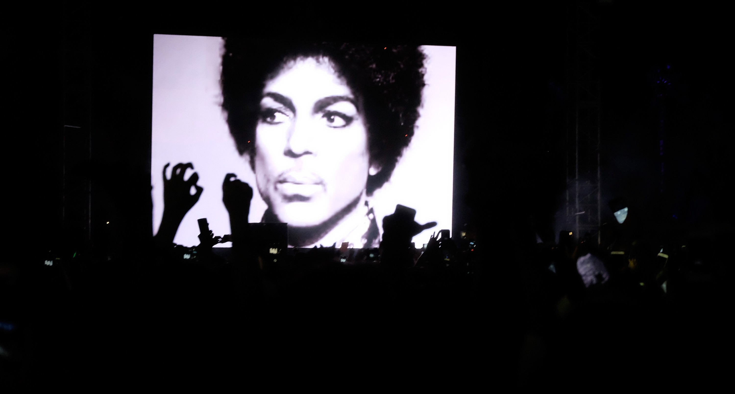 A Prince tribute was held during Jack U's performance at the 2016 Coachella Valley Music & Arts Festival Friday in Indio, Calif.