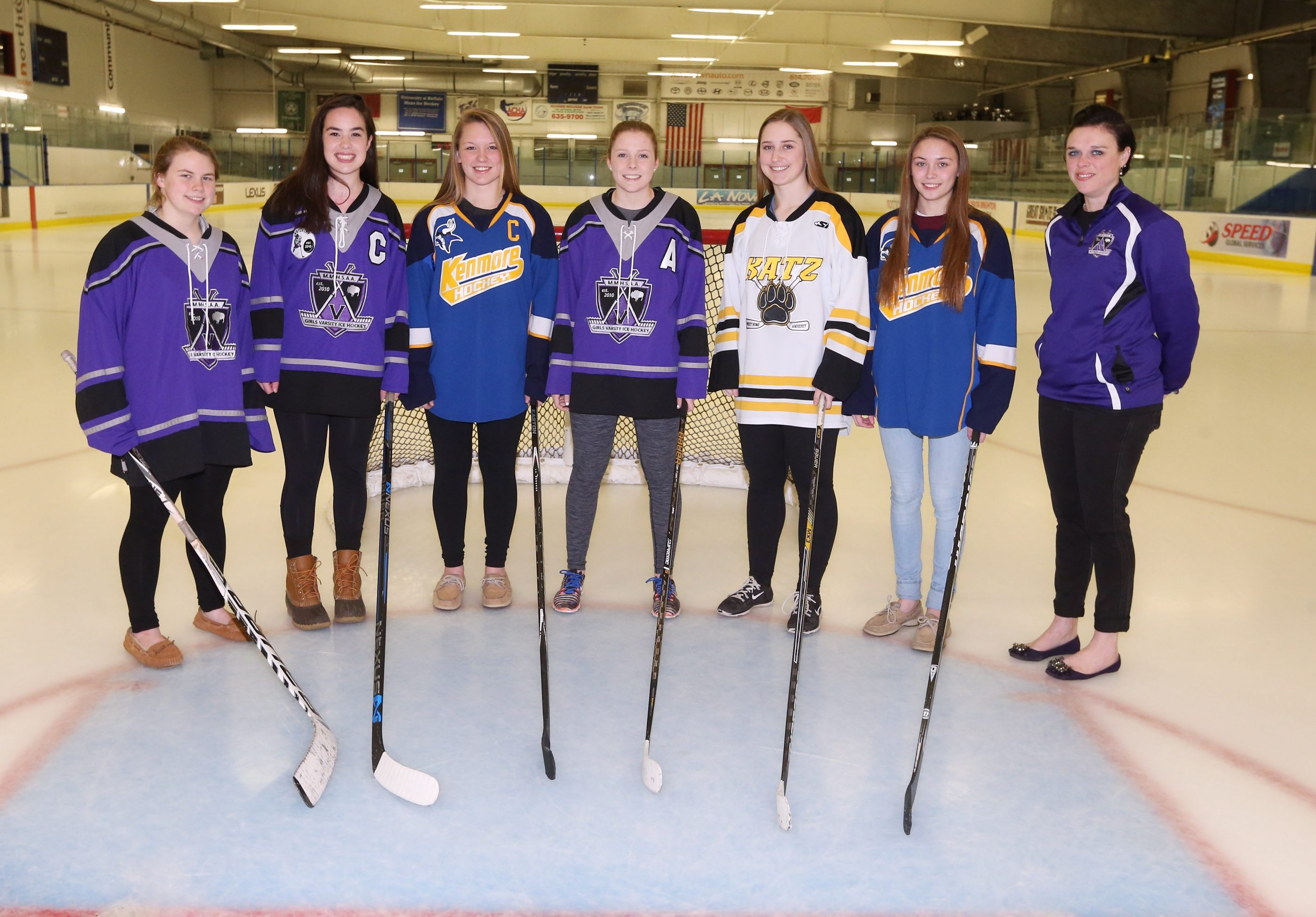 All-WNY Girls Federation Hockey First Team, from left: Brianna Gawronski (Monsignor Martin), Maeve Christ (Monsignor Martin), Grace Simmons (Kenmore/Grand Island), Kaitlyn Drew-Meade (Monsignor Martin), Julia Mings (Amherst/Sweet Home/Clarence), Olivia Smith (Kenmore/Grand Island) and Coach of the Year Linda Groff-Mroz (Monsignor Martin).