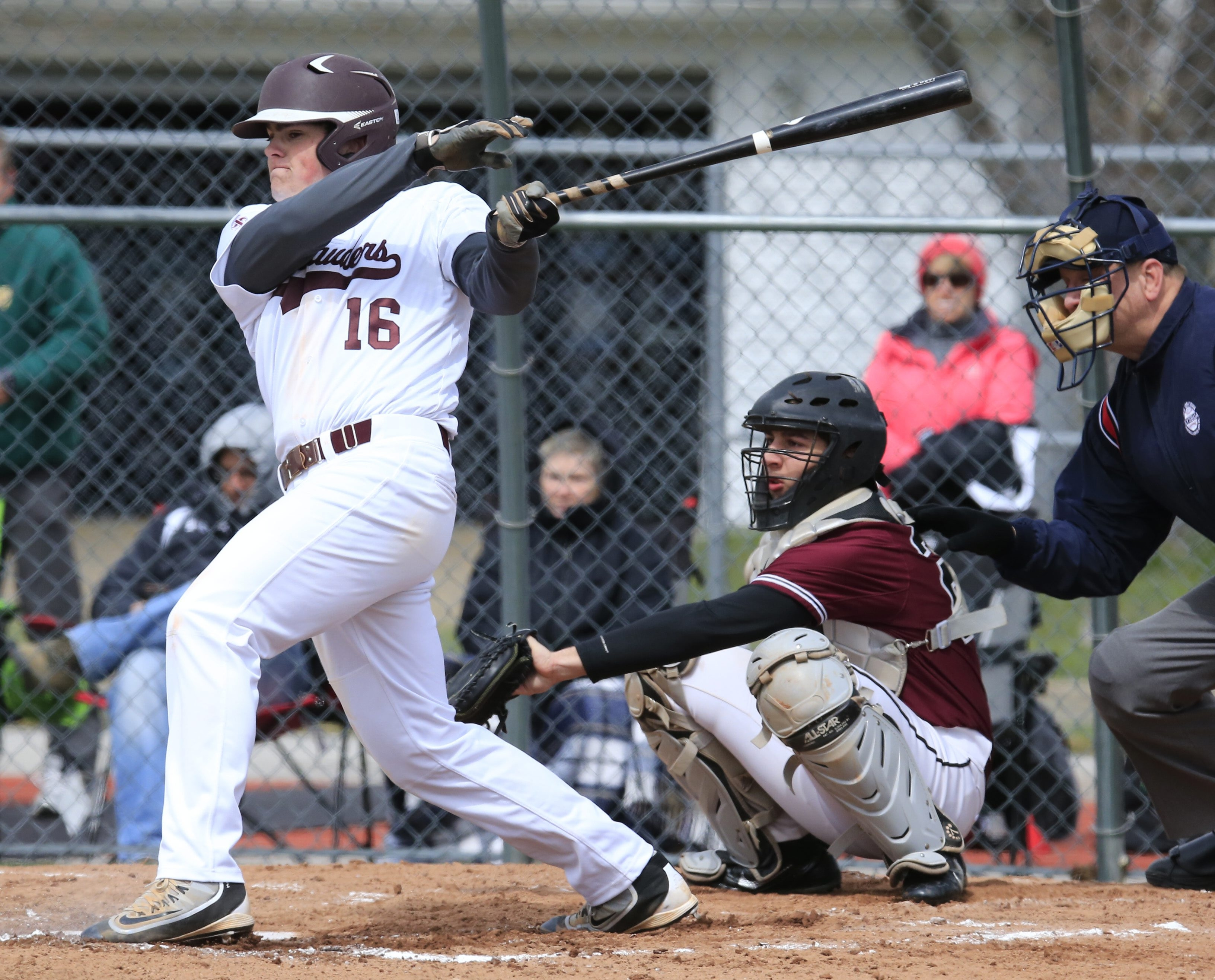 St. Joe's Will Frank singles in the second inning during the Marauders' win over Orchard Park on Saturday.