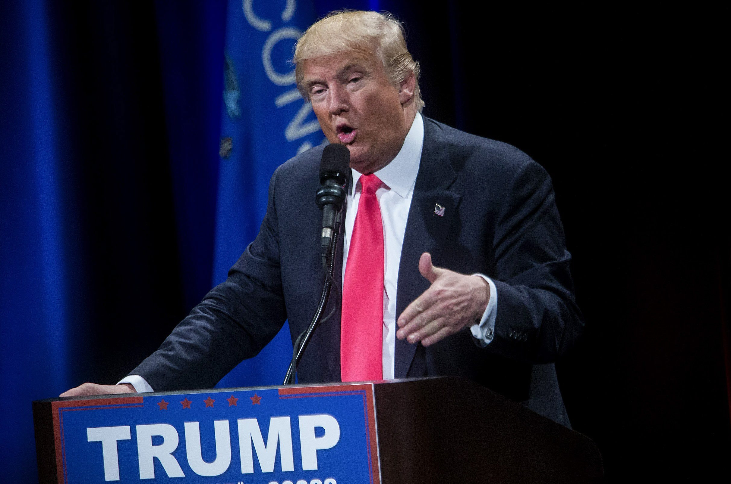 Donald Trump, a Republican presidential candidate, speaks at a campaign event in Milwaukee, April 4, 2016. Trump lost Tuesdays' primary in Wisconsin to Ted Cruz after a series of missteps on the campaign trail, while on the other side of the race, Sen. Bernie Sanders overwhelmingly defeated Hillary Clinton, marking his sixth straight victory. (Eric Thayer/The New York Times)