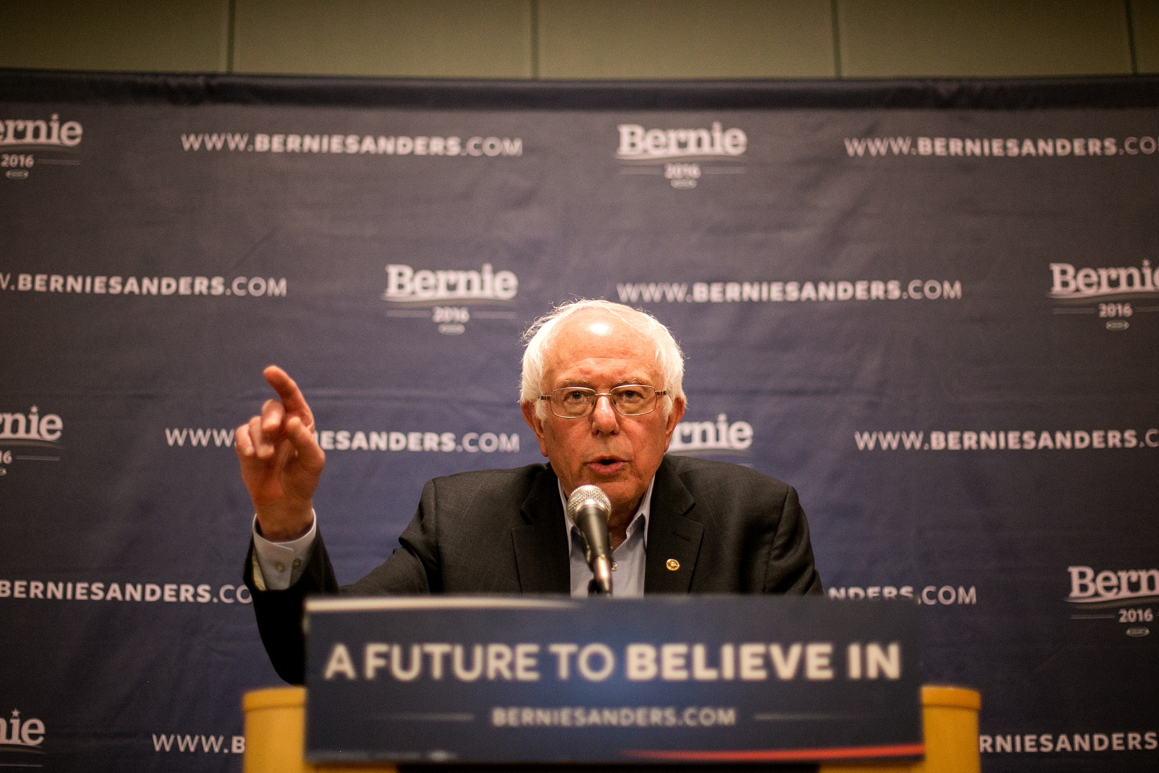 Sen. Bernie Sanders of Vermont speaks to reporters about winning the Wyoming caucus at a rally at the LaGuardia Performing Arts Center in New York on Saturday. The Sanders campaign examined Zephyr Teachout's 2014 campaign for strategies to deal with New York State's varied Democratic population.