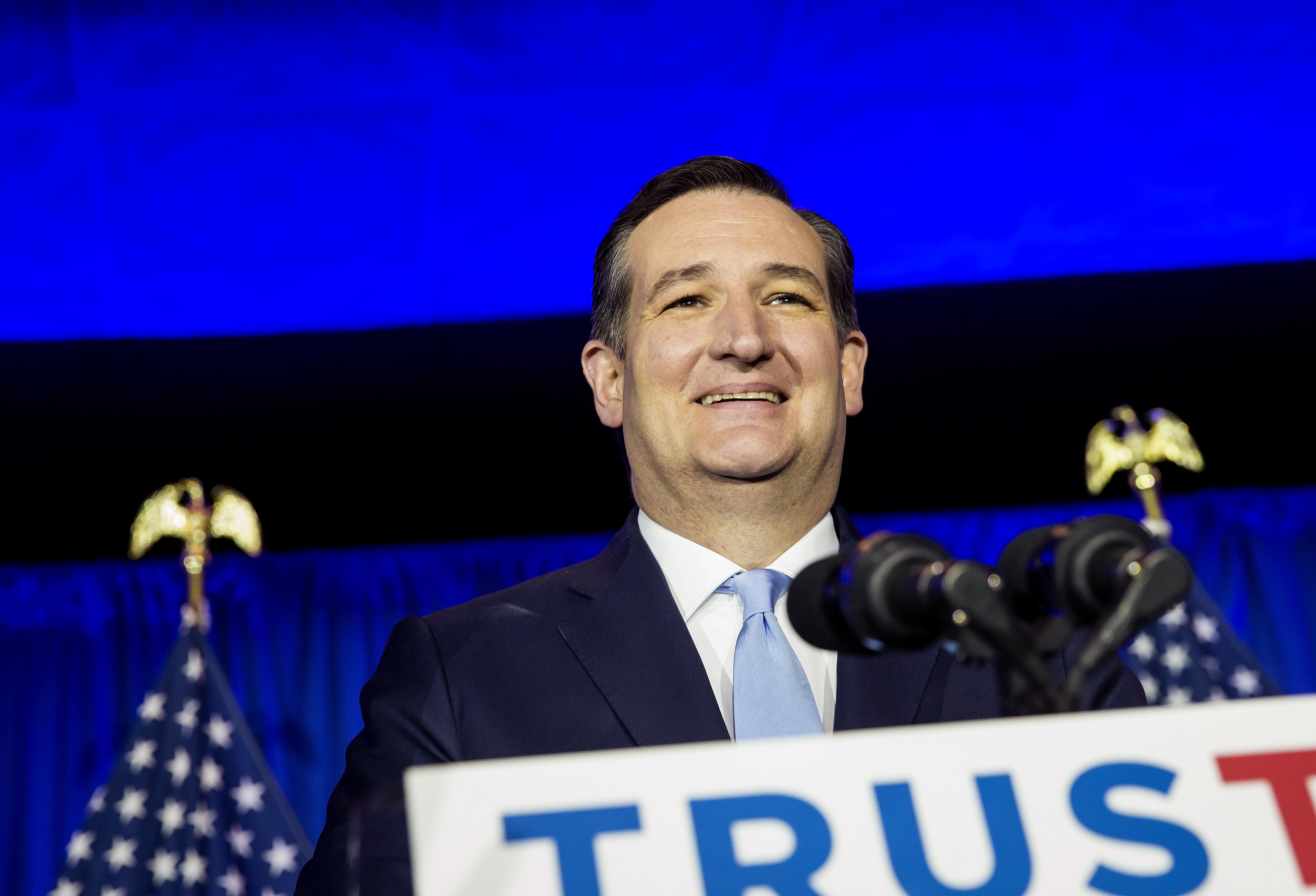 Sen. Ted Cruz celebrates his win in WisconsinþÄôs Republican presidential primary during a rally in Milwaukee, April 5, 2016. Cruz soundly defeated Donald Trump and Gov. John Kasich in Wisconsin, showing his ability to appeal to more than just hard-line and religious conservatives. (Eric Thayer/The New York Times)