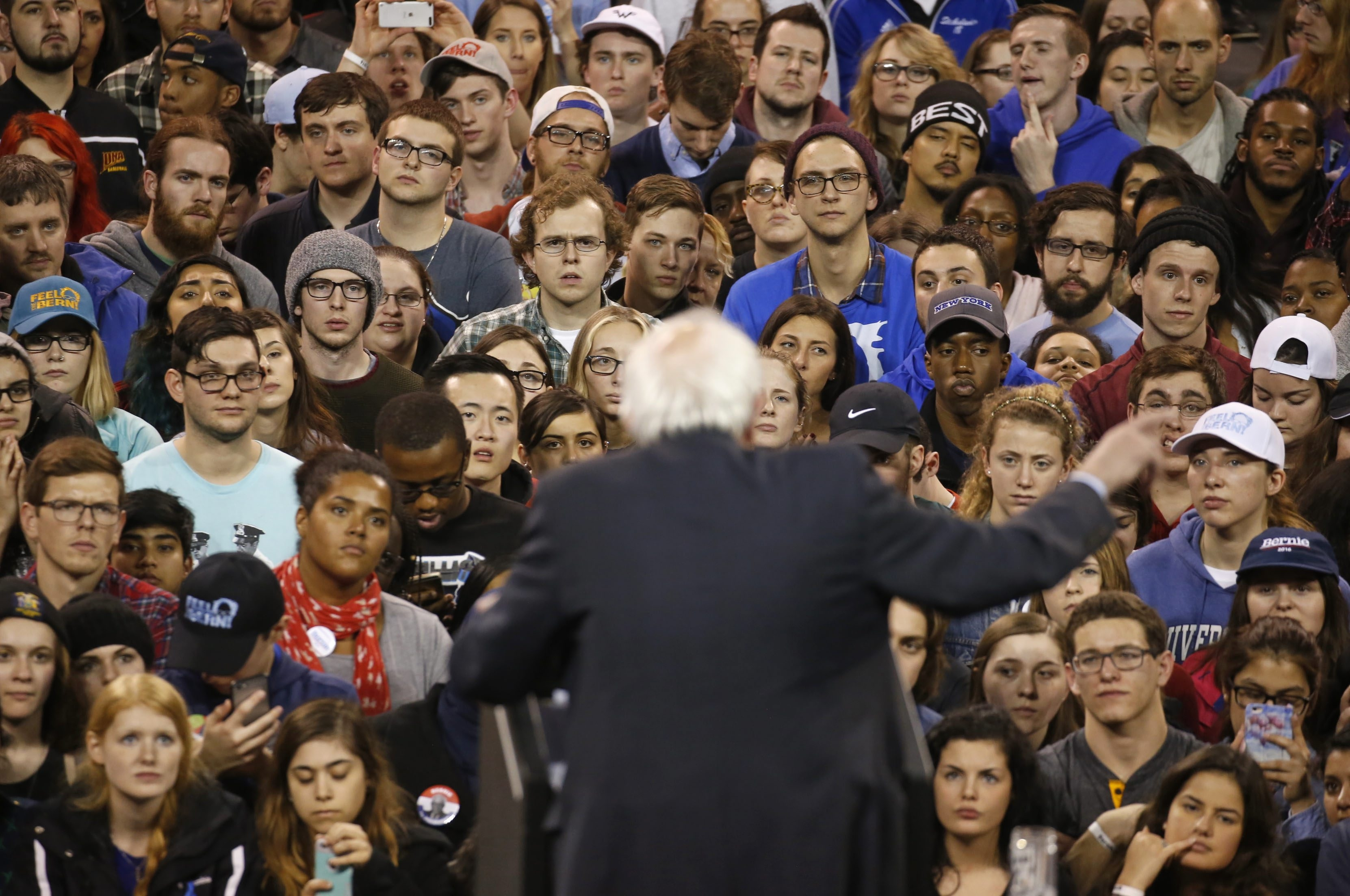 Presidential candidate Bernie Sanders speaks Monday at a rally at Alumni Arena on the University at Buffalo's North Campus.  The Vermont senator energized the mostly young crowd of his supporters.