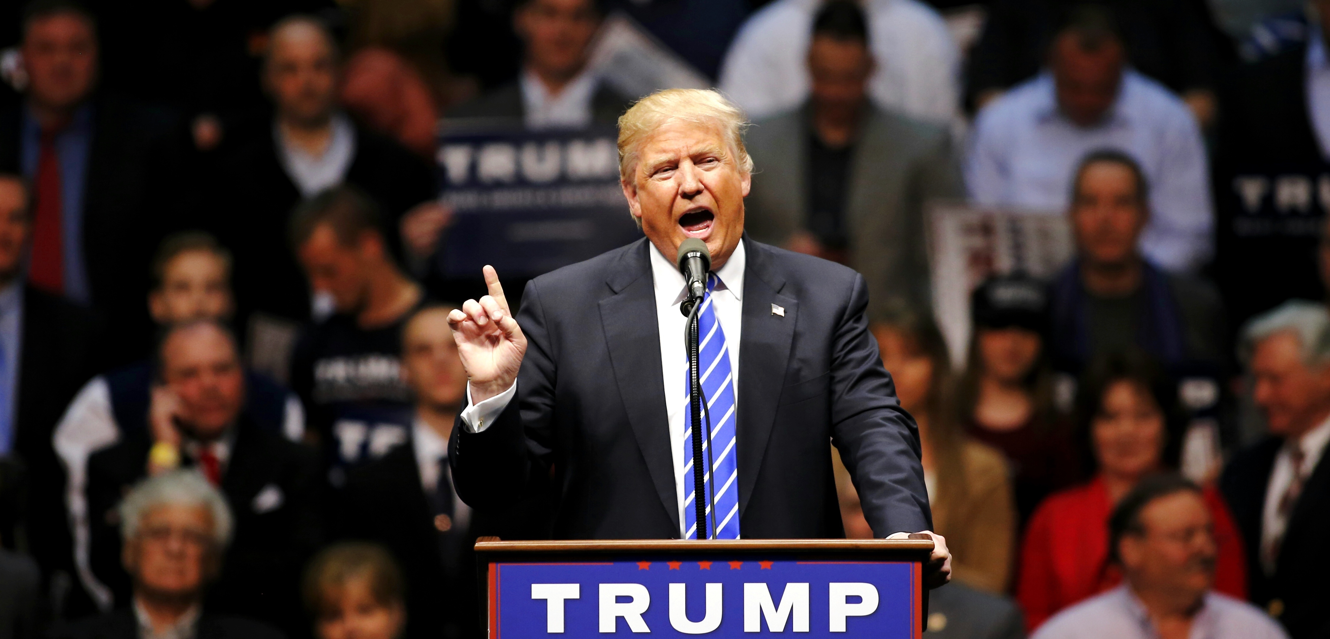Donald Trump tells WBEN radio host Tom Bauerle: 'I'm bringing jobs back, Tom, I'm bringing jobs back. Nobody else is going to bring jobs back. That's what I do.' (Getty Images)