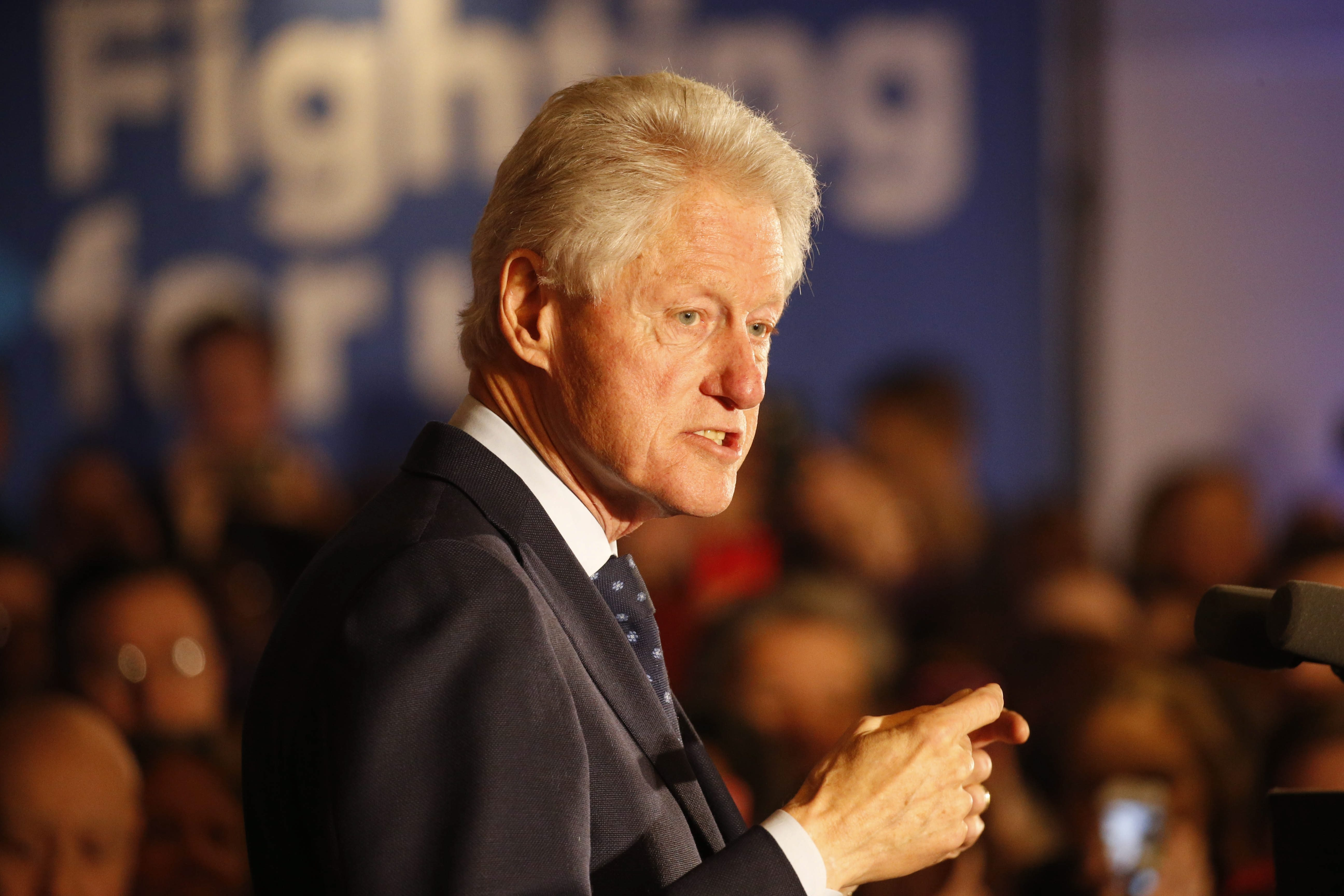 Former U.S. President Bill Clinton speaks during his first campaign trip to Buffalo on behalf of his wife at Grapevine Banquets in Depew on April 5. (Derek Gee/News file photo)