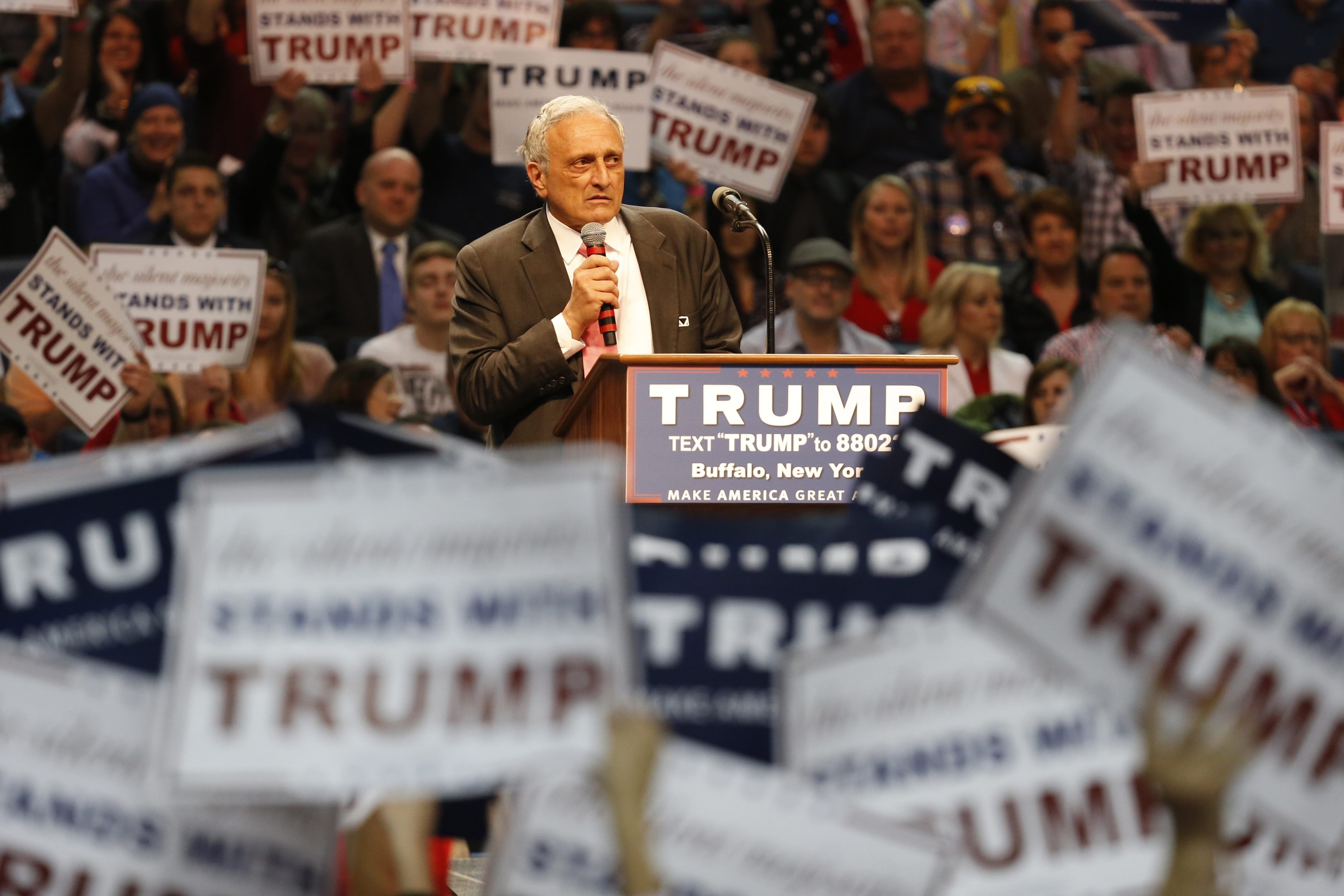 Carl Paladino speaks prior to Republican presidential candidate Donald Trump at the First Niagara Center on Monday, April 18, 2016. (Harry Scull Jr./Buffalo News)