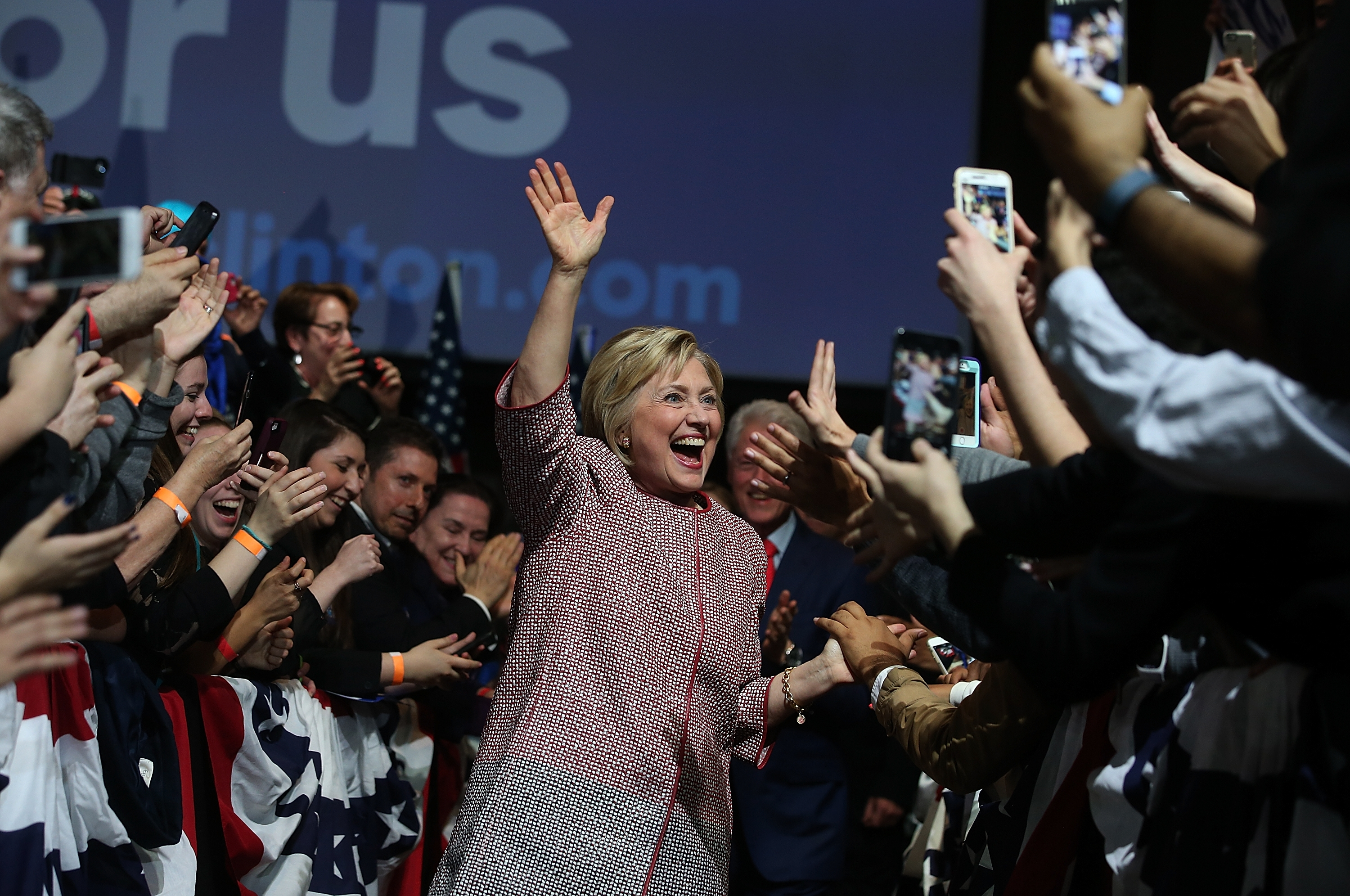Democratic presidential candidate former Secretary of State Hillary Clinton greets supporters celebrating her victory in the New York primary Tuesday night in New York City. (Getty Images)