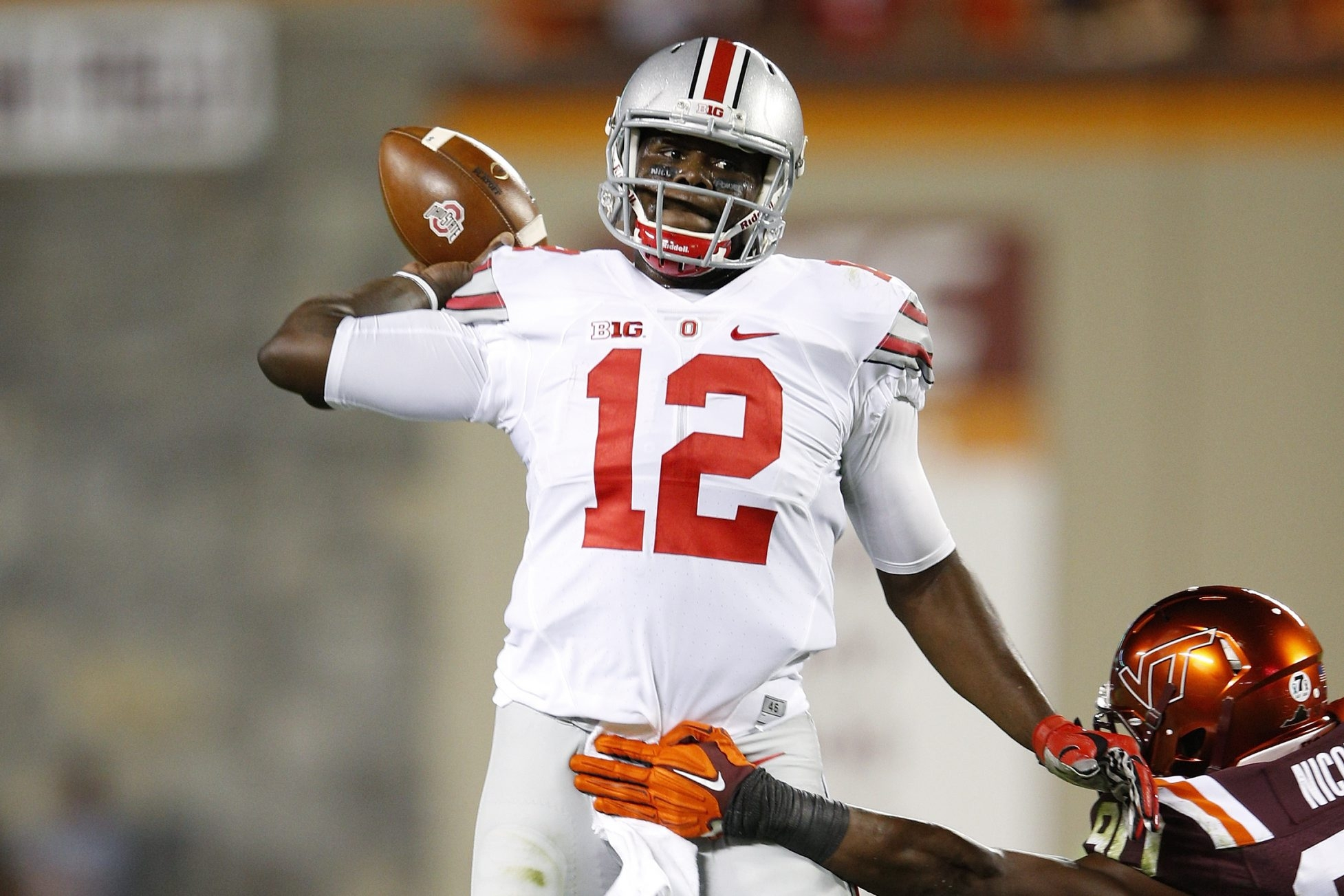 "Ohio State QB Cardale Jones has a 13-0 record as a starter. His incredible arm strength has earned him the nickname ""12 Gauge."""
