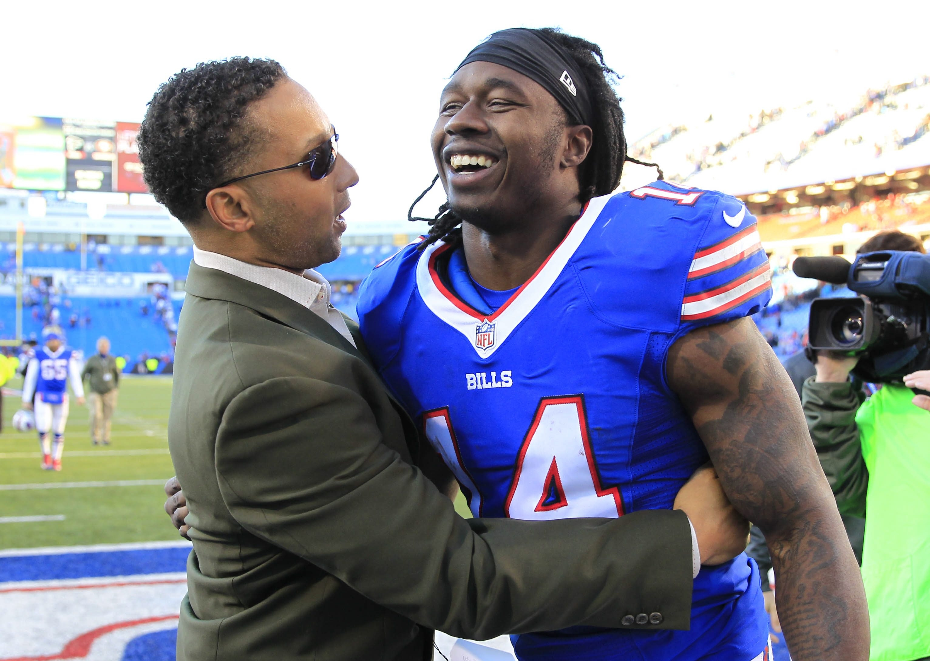 """I think every draft you have to find difference-makers. Every draft you have to try to hit on as many guys as possible ... I think the internal pressure to hit on a draft is what drives us, and we're excited about it."" — Bills General Manager Doug Whaley, left"
