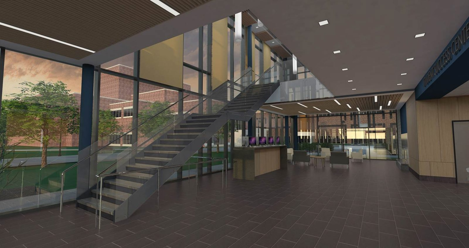 "When completed, the 18,000-square-foot Student Success Center, seen here in a rendering, will become the new ""front door"" of the Genesee County Community College campus."