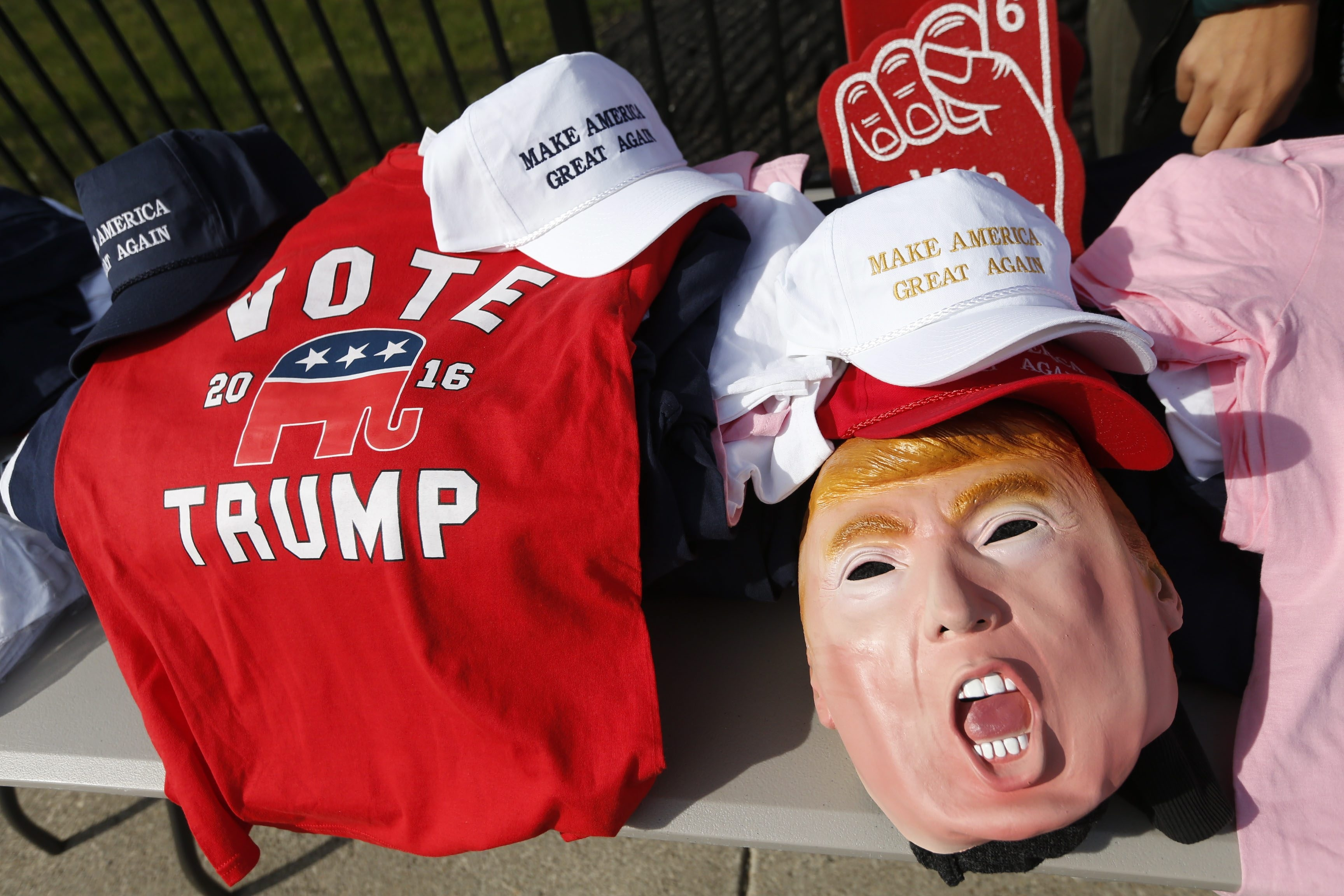 Vendors were selling Donald Trump items outside the First Niagara Center during Trump's visit on April 18.