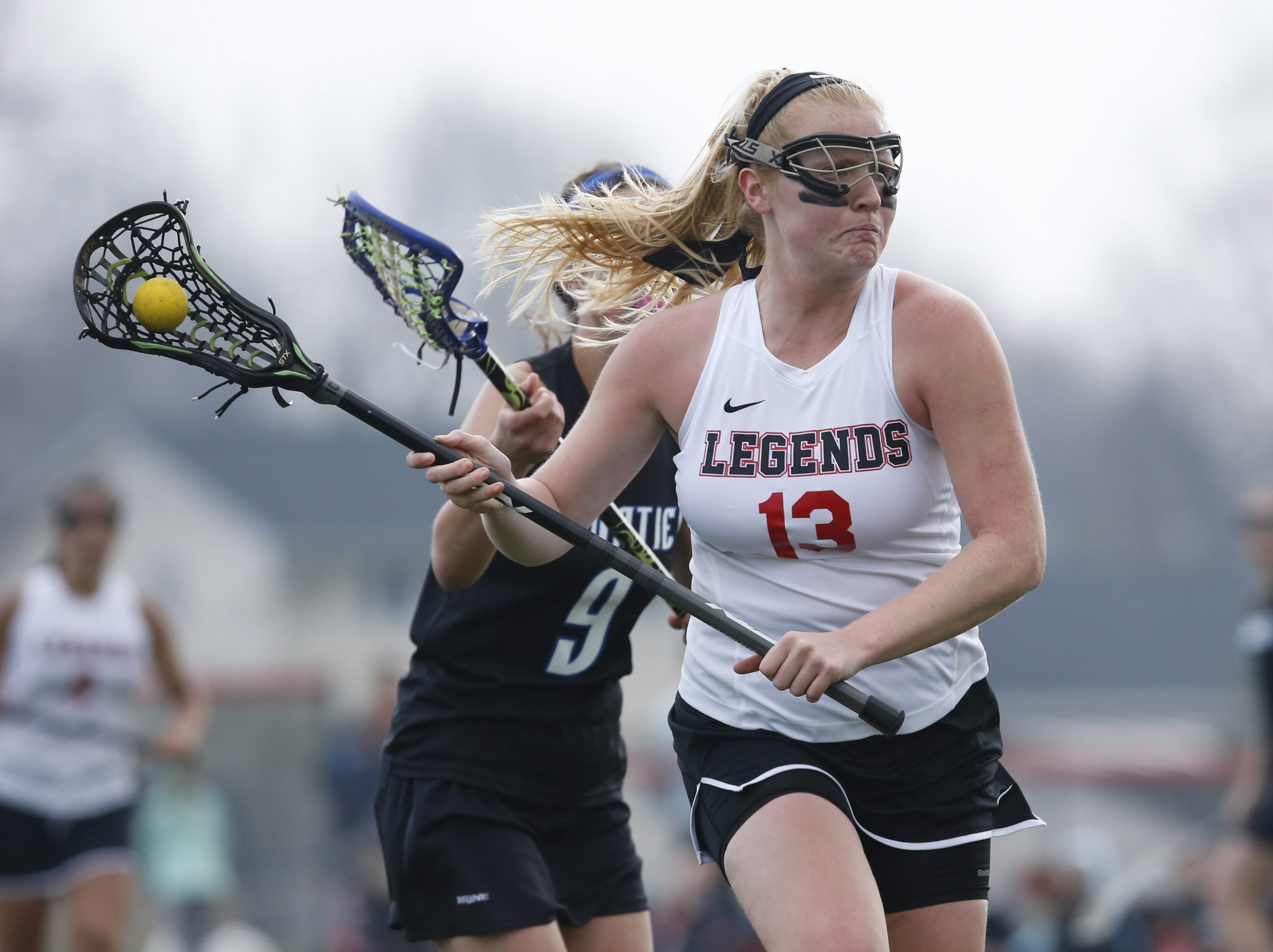 Lancaster's Hannah Nagowski, who had seven goals in a game this year, shoots on the Frontier net last Friday.