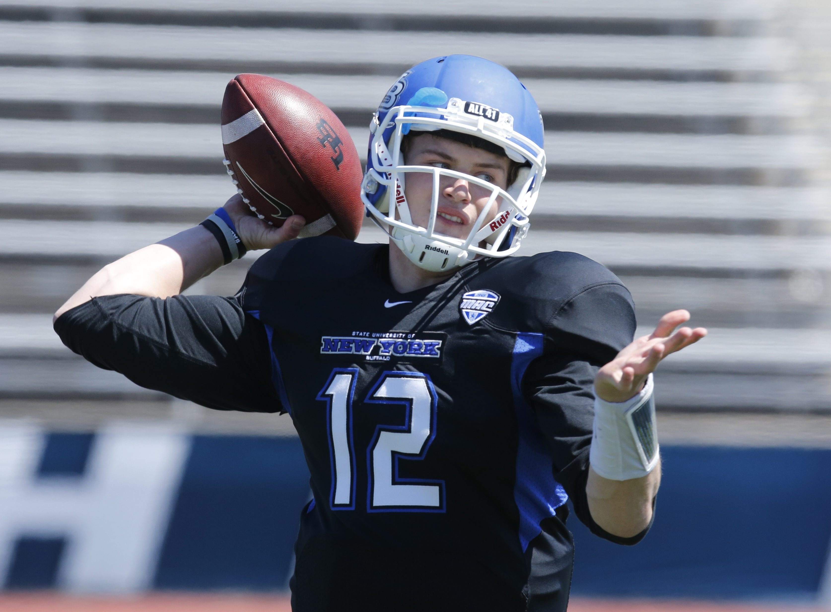 University at Buffalo quarterback Chris Merchant winds up for a pass. He threw for 132 yards on 28 snaps.
