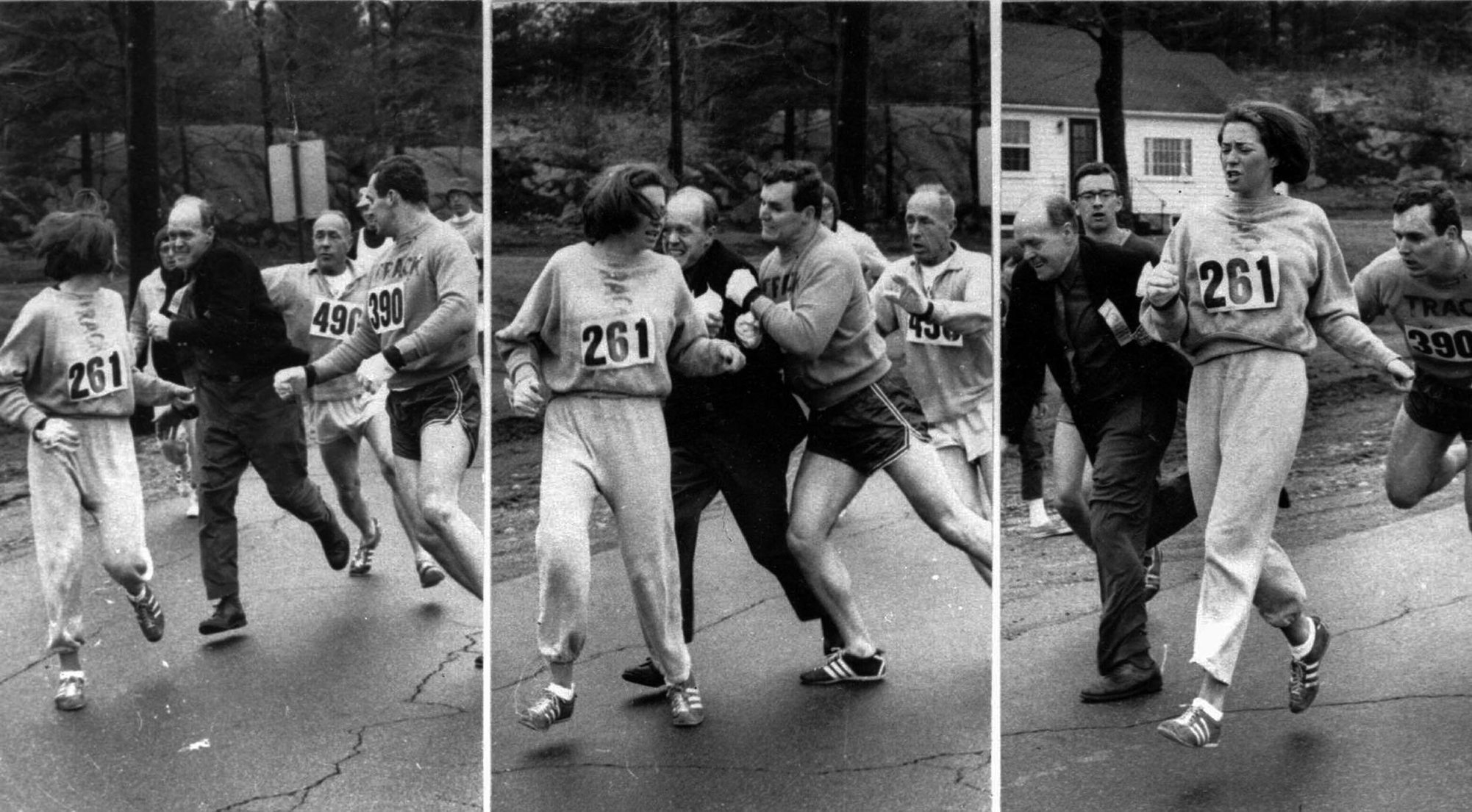 "Three photos above show Boston Marathon race official Jock Semple trying to remove Kathrine Switzer from the 1967 race, a men's only event at the time. In a recent phone interview, Switzer, left, said the photos ""became some of the most galvanizing photos in the women's rights movement."" Switzer will participate in the inaugural Women's Right to Run on May 7 in Seneca Falls."