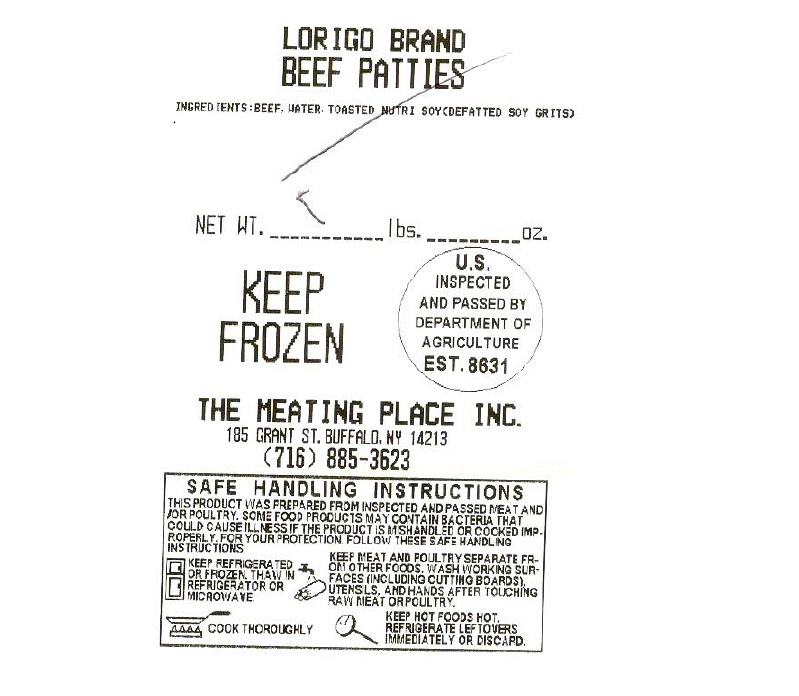 Label of recalled beef patties from Meating Place on Grant Street in Buffalo. (U.S. Department of Agriculture)