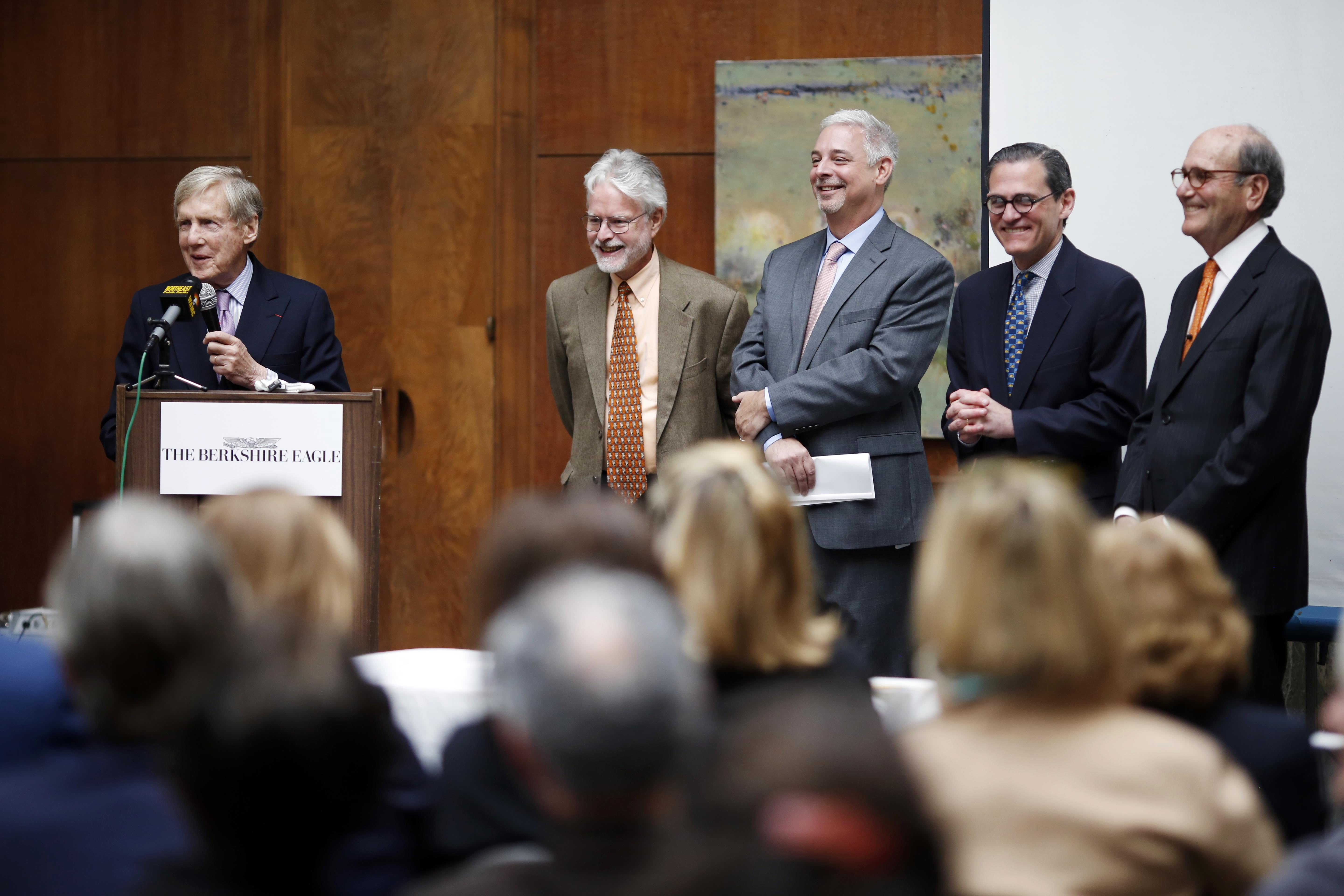 Robert Wilmers, chairman and CEO of M&T Bank Corp., announces the purchase of four New England papers at the Berkshire Museum on Thursday.