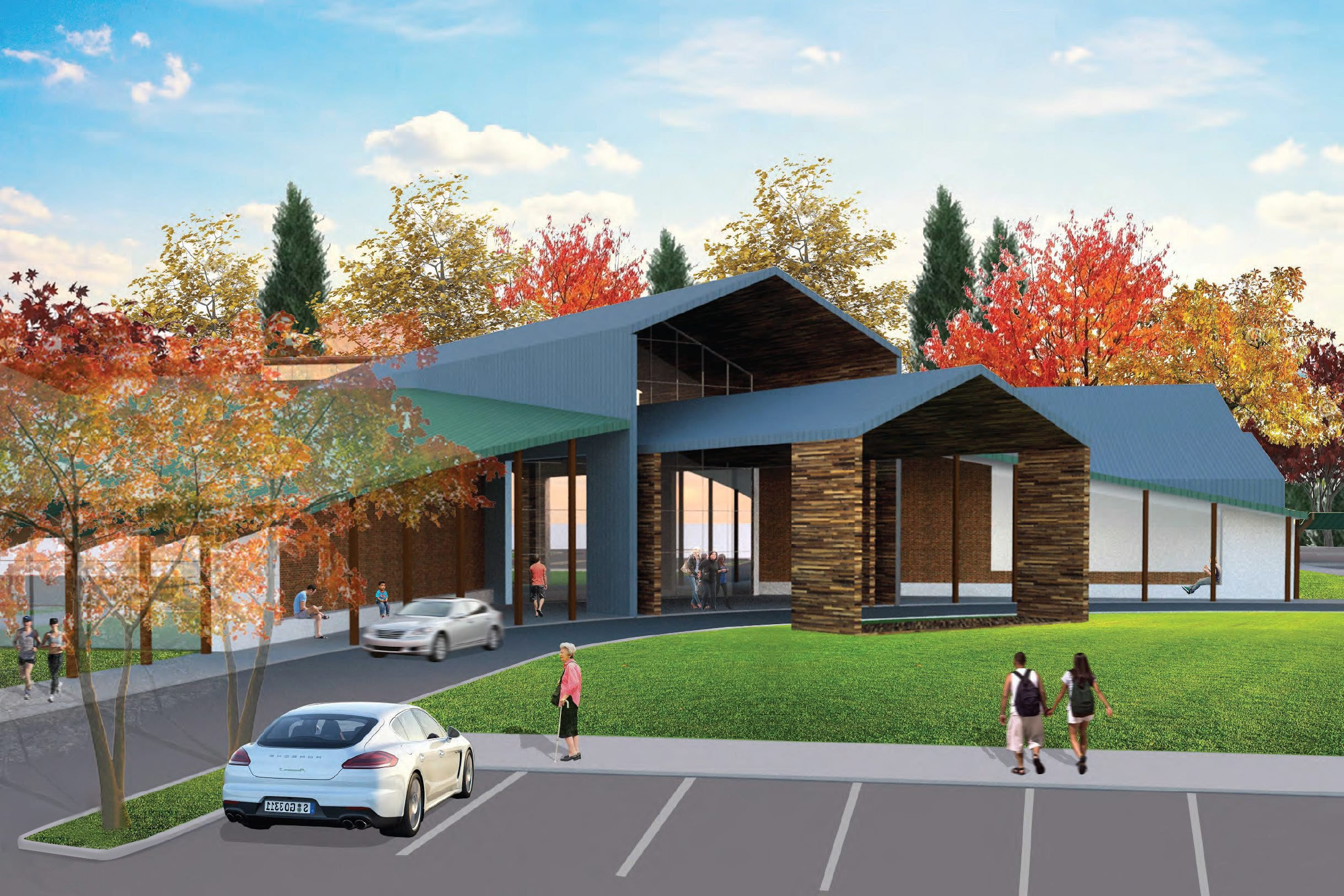 An architect's rendering of the proposed Orchard Park Community Activities Center, which would combine the senior center and Recreation Department under one roof. The basic version has a $20 million price tag; another $10 million would add amenities like a pool and splash pad.