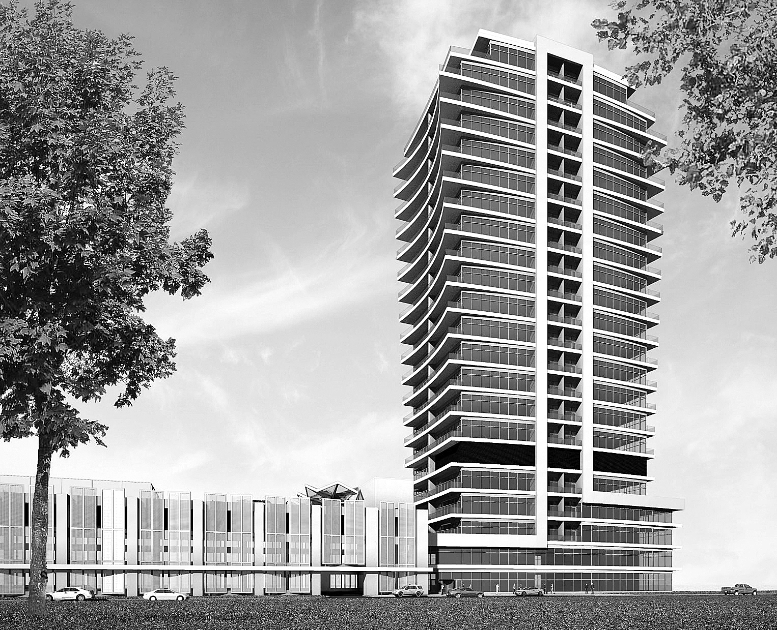 Rendering by Trautman Associates shows the proposed Apartments @ Queen City Landing on Buffalo's Outer Harbor.