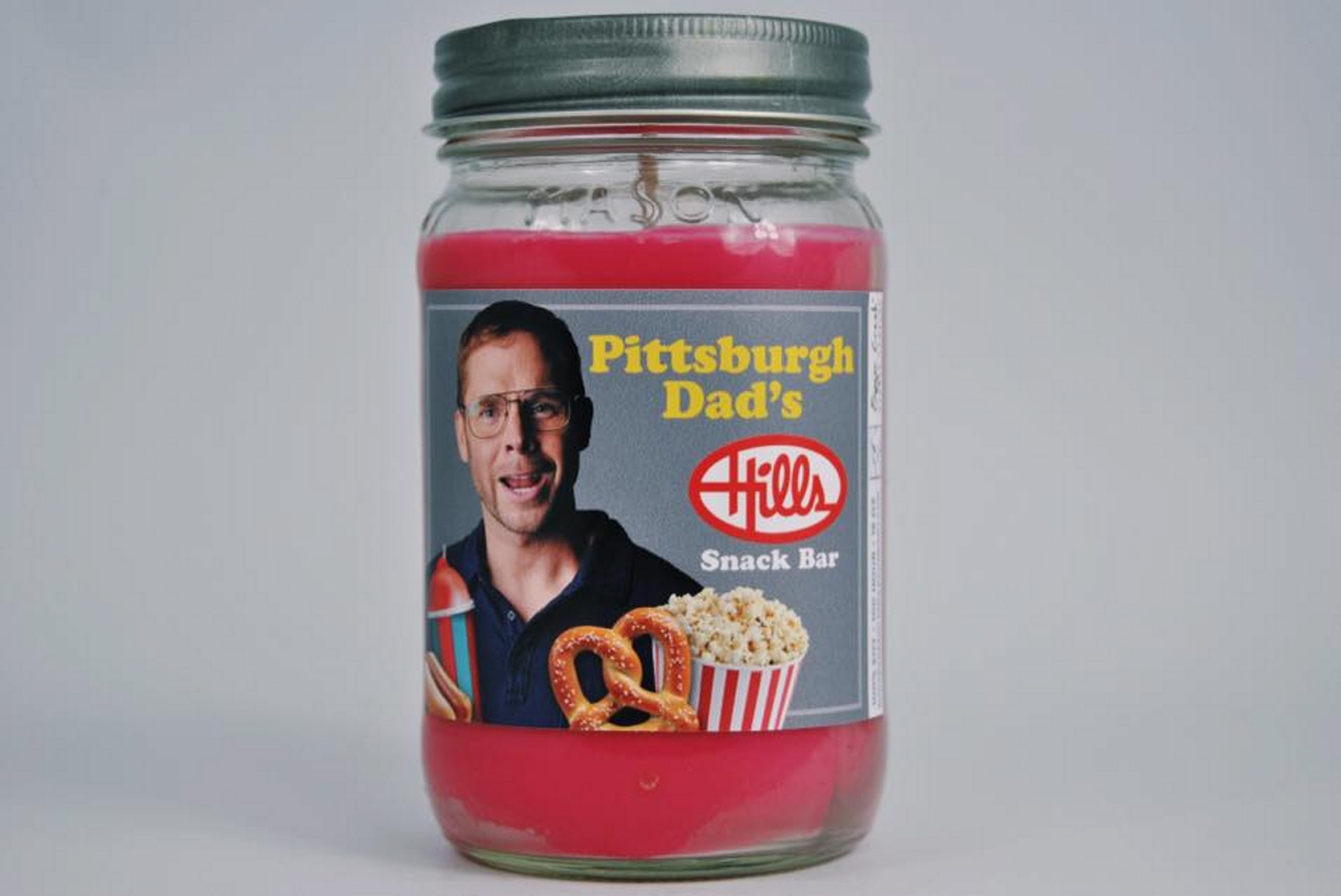 Comedian and actor Curt Wootton is featured on Pittsburgh Dad's Hills Snack Bar Candle.