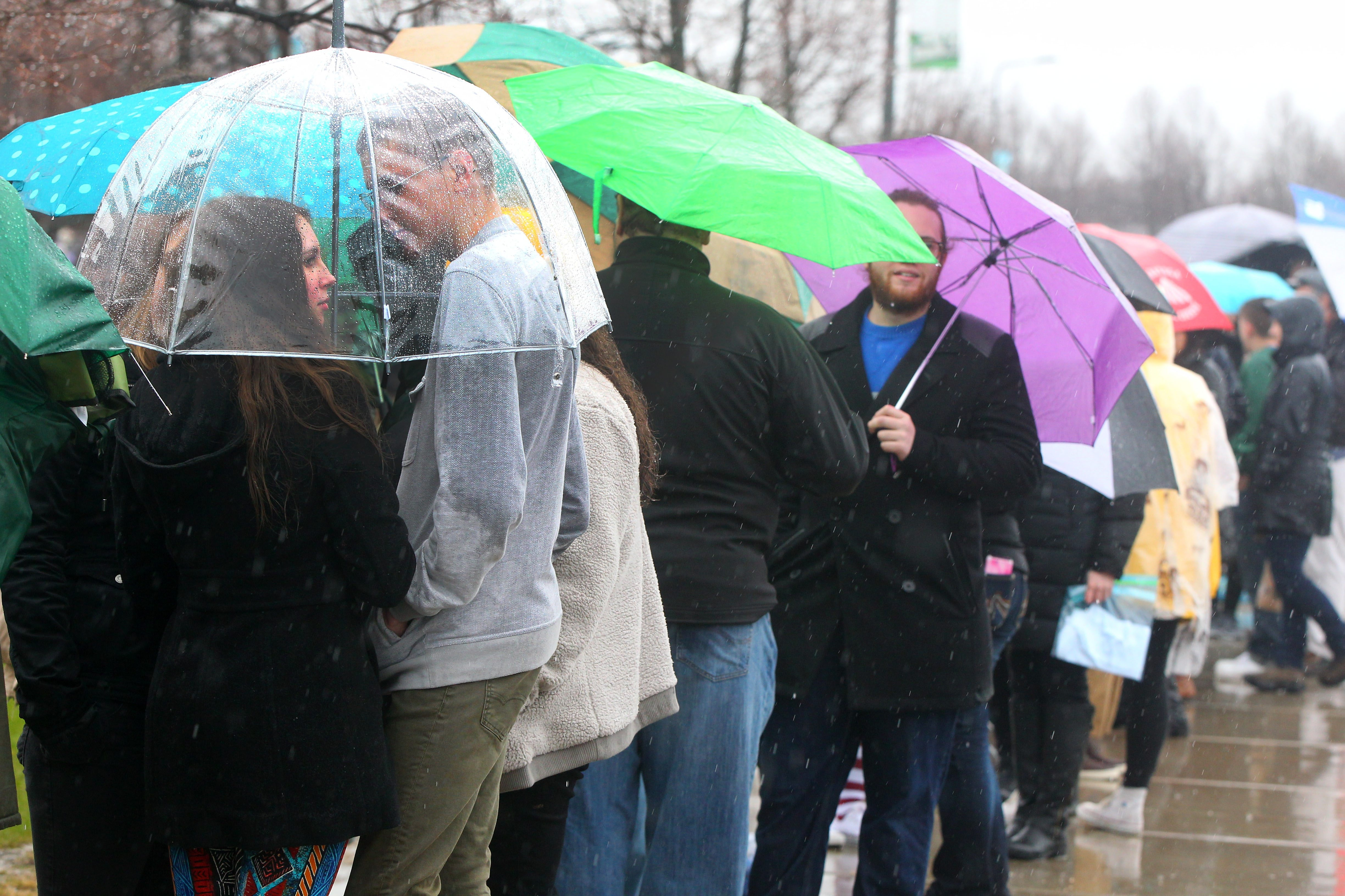 The primaries have generated intense interest among voters, including these who stood in line for hours in the rain to get into Bernie Sanders' event Monday at the University at Buffalo. (Mark Mulville/Buffalo News)