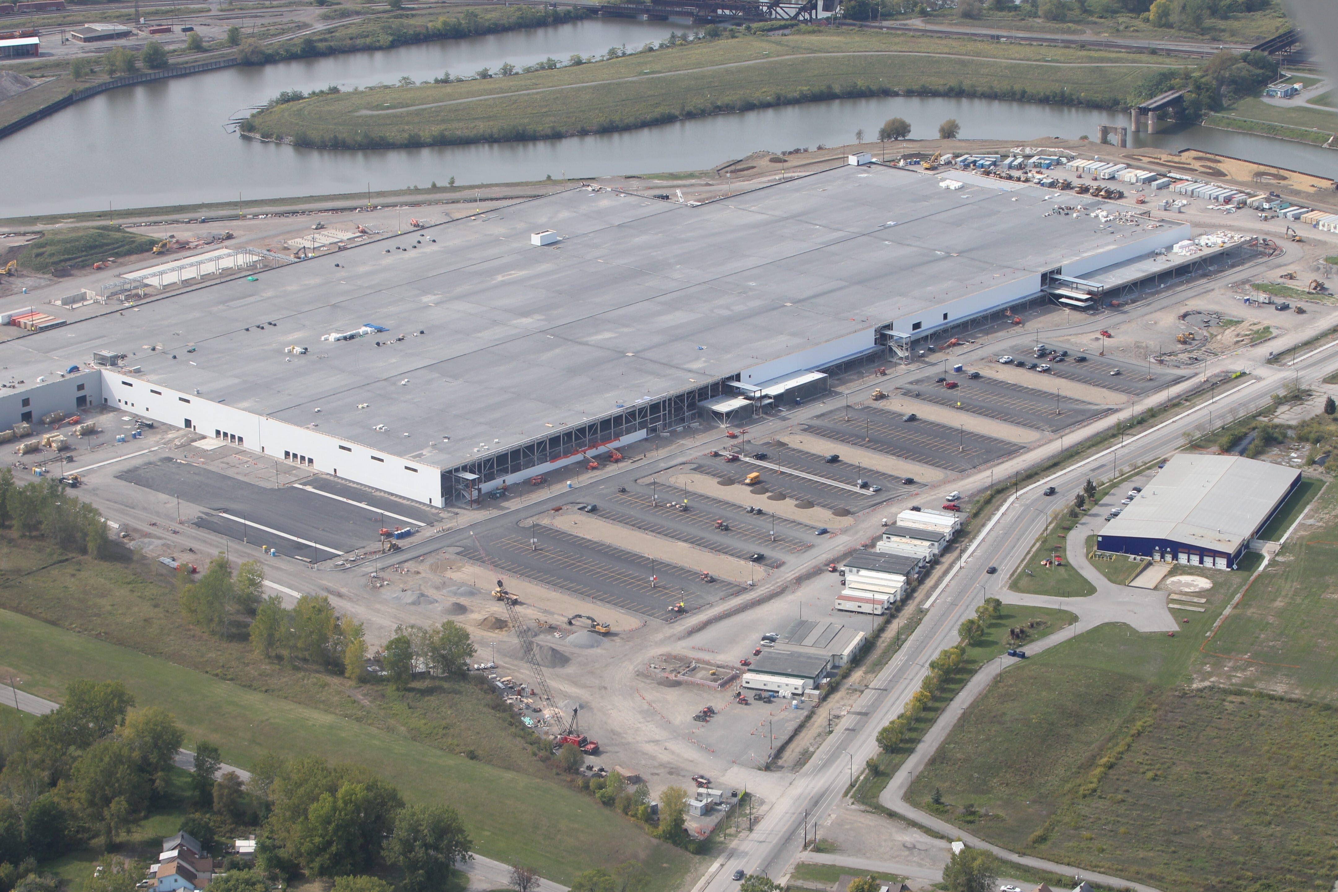The factory being built for SolarCity along South Park Avenue near the Buffalo River in South Buffalo will be the largest solar panel factory in North America. (John Hickey/Buffalo News)