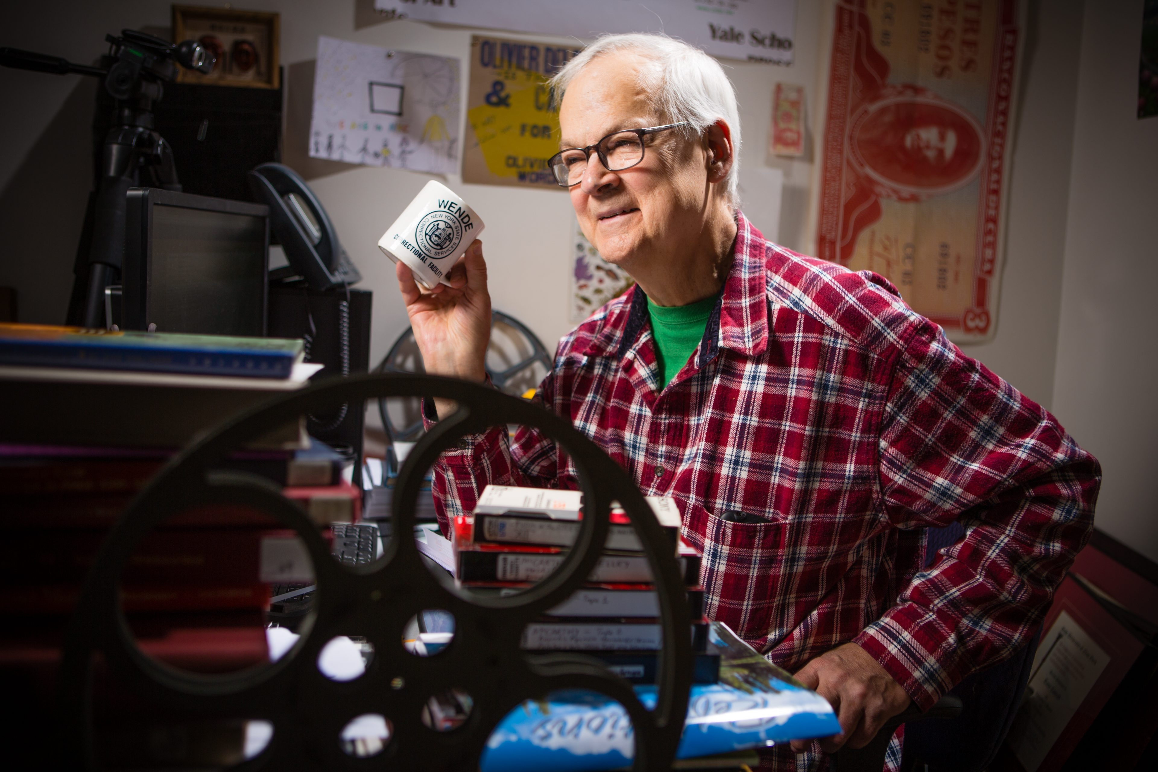 Internationally beloved artist and composer Tony Conrad, seen in his office at University at Buffalo, had an impact on thousands of students.