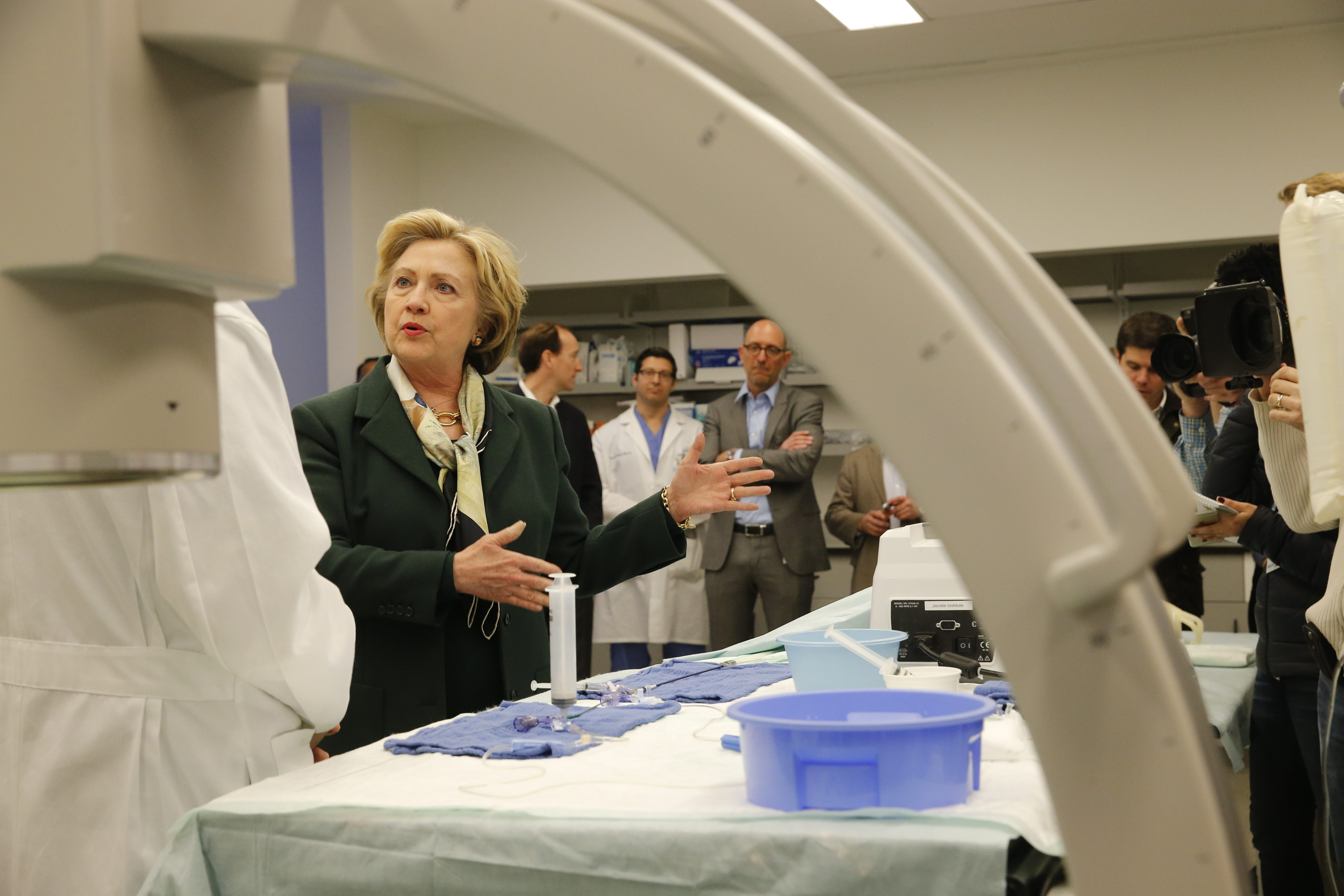 Presidential candidate Hillary Clinton tours the Jacobs Institute during a campaign stop in Buffalo, N.Y. on Friday, April 8, 2016.  (Derek Gee/Buffalo News)