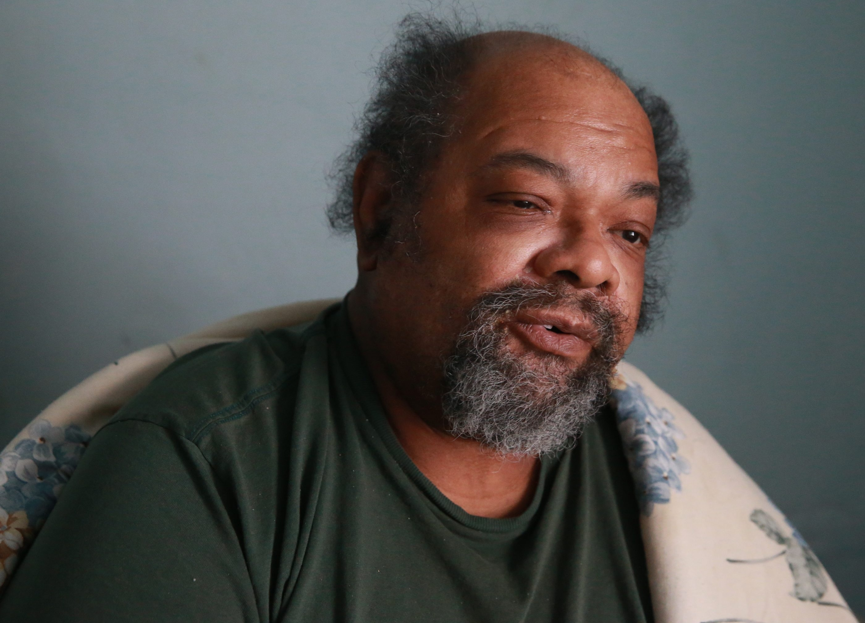 Robert Lewis, who fled his Langmeyer home, has tem- porary housing from Back to Basics Outreach Ministries.