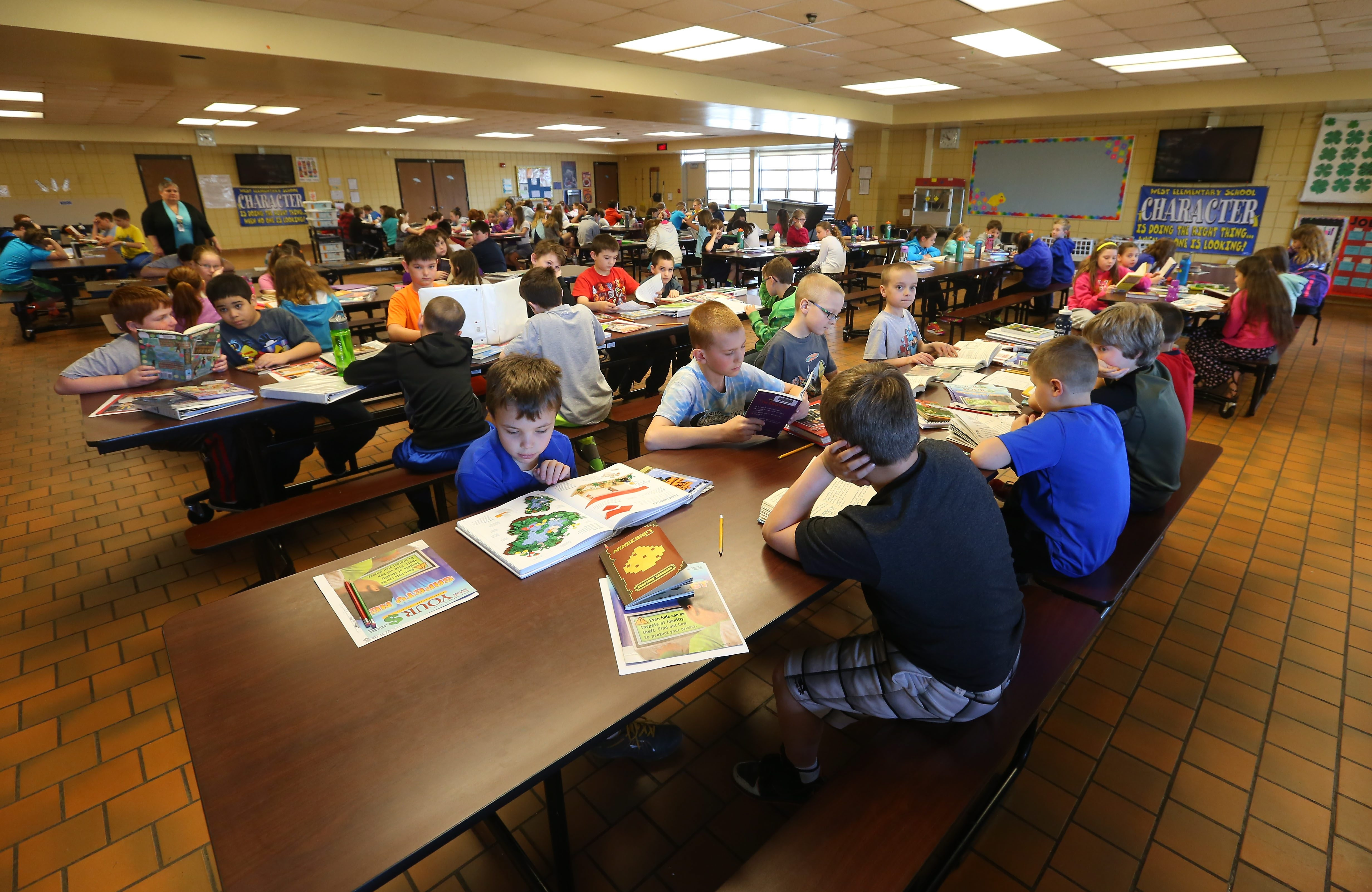 Students opting out of state testing last year filled the cafeteria at West Elementary in West Seneca. (Mark Mulville/Buffalo News file photo)