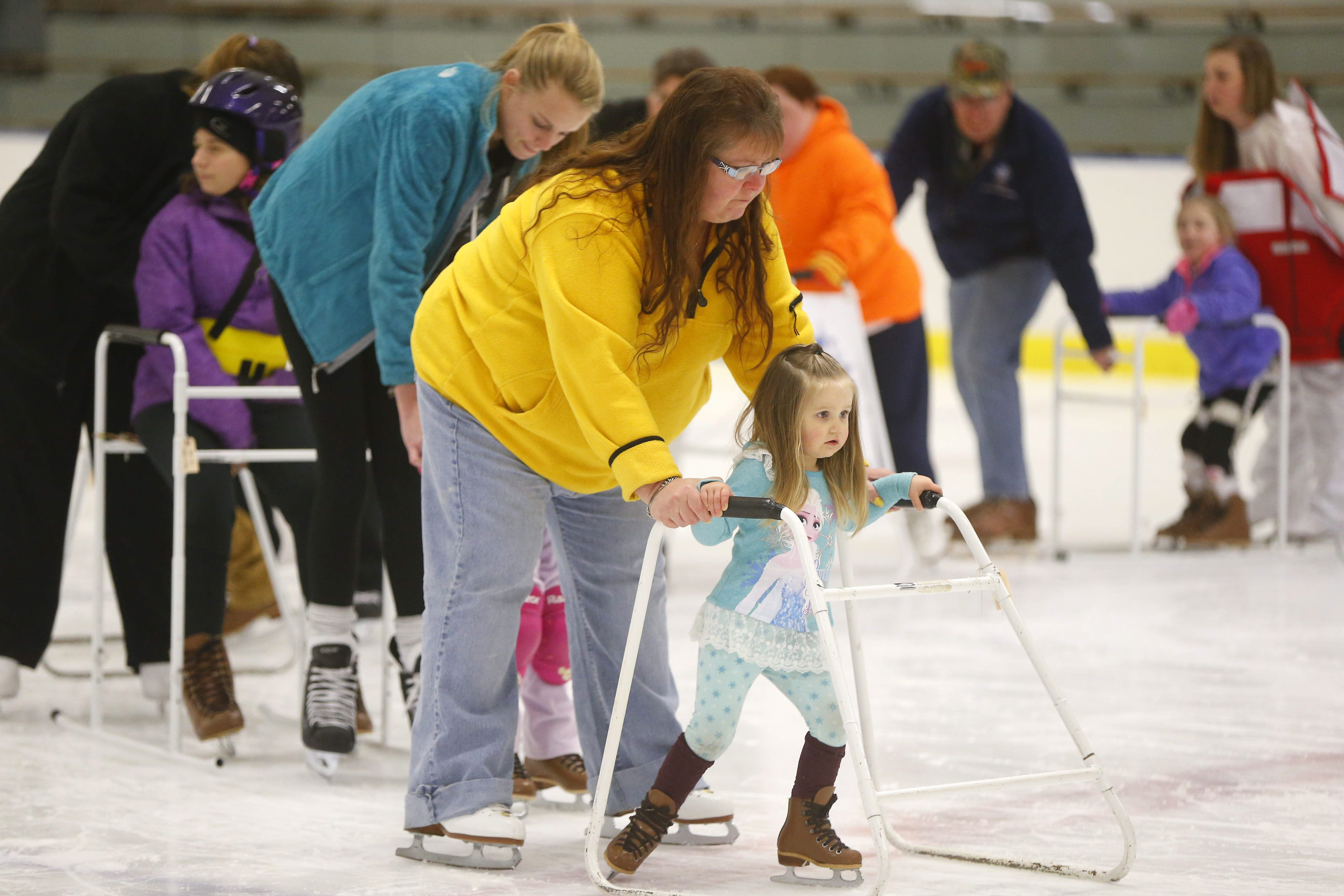 Skaters get ready for the Gliding Stars of Western New York's 12th annual ice show at the Northtown Center at Amherst.  Gliding Stars is an adaptive ice skating program for people with disabilities. The ice show takes place this weekend.